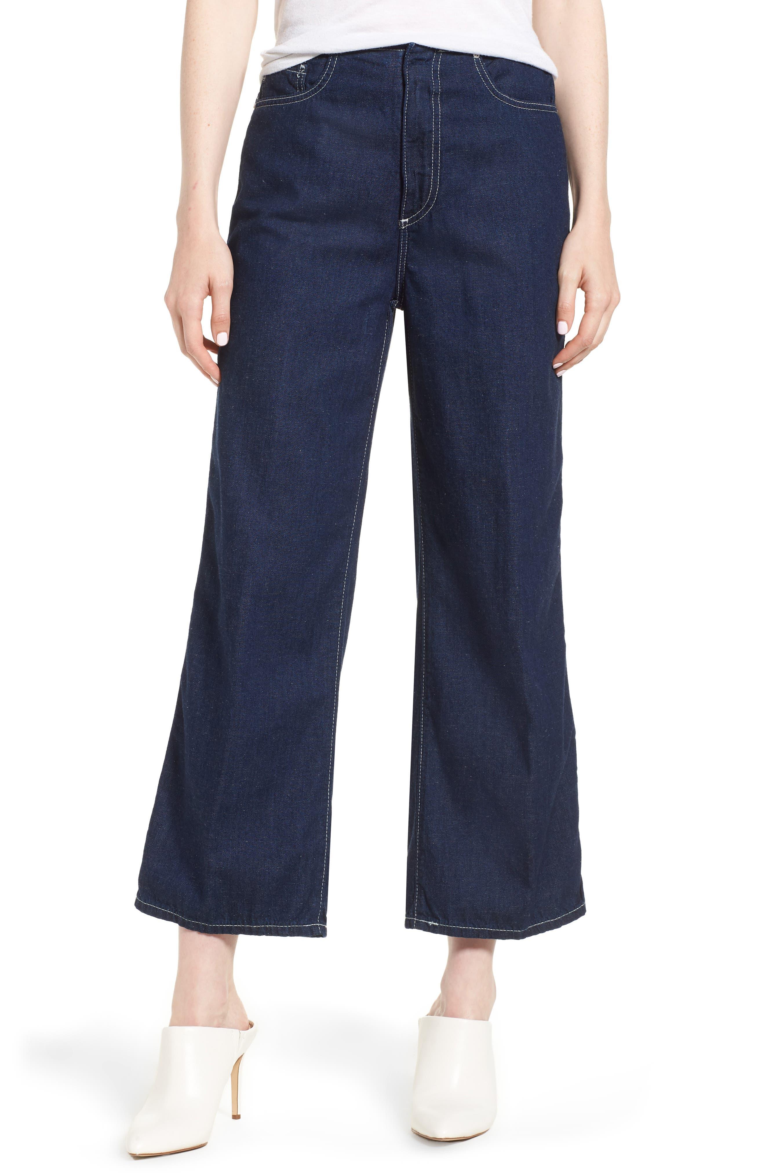 Etta High Waist Crop Wide Leg Jeans,                             Main thumbnail 1, color,                             Midnight Surge