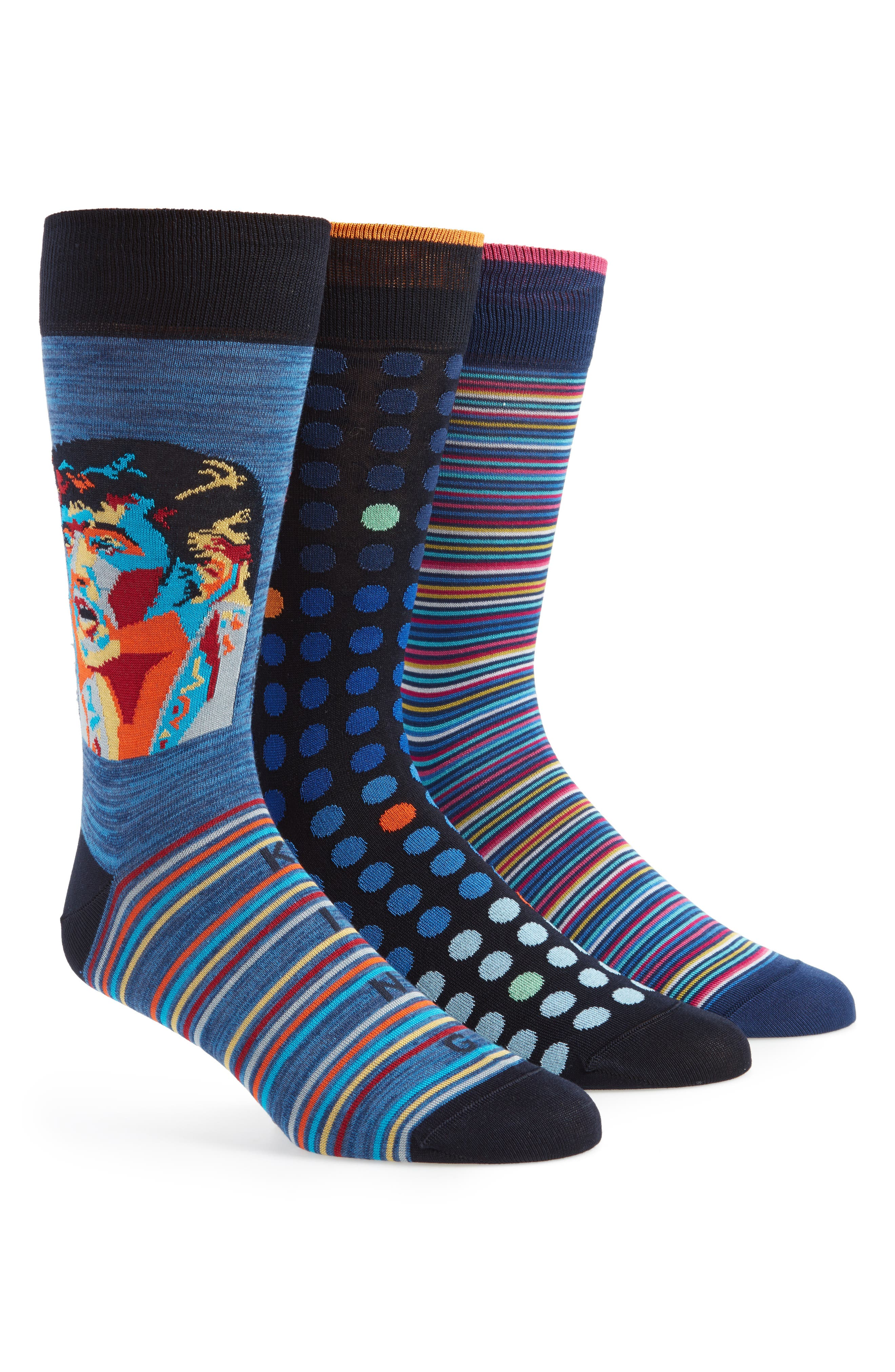Assorted 3-Pack Mercerized Cotton Blend Sock Gift Set,                         Main,                         color, Midnight