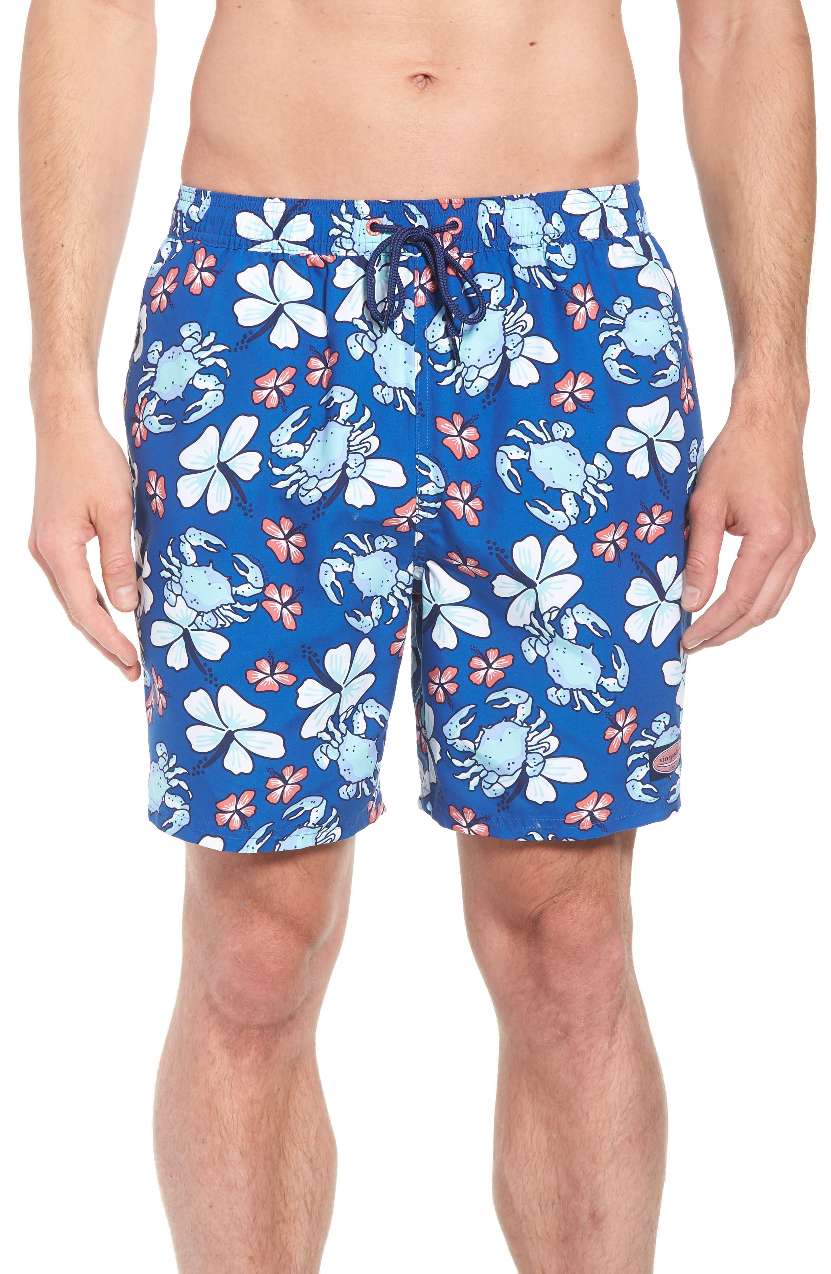 Chappy Crab Floral Swim Trunks,                         Main,                         color, Yacht Blue