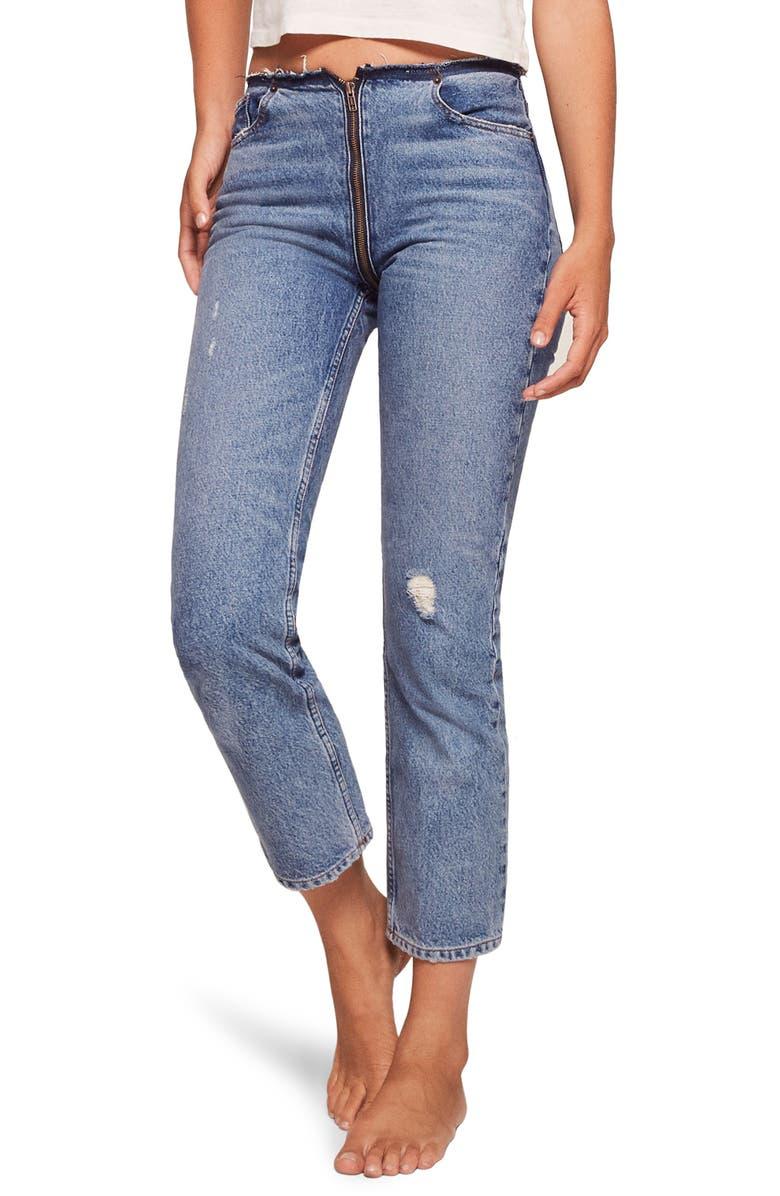 Zip Crop Straight Leg Jeans