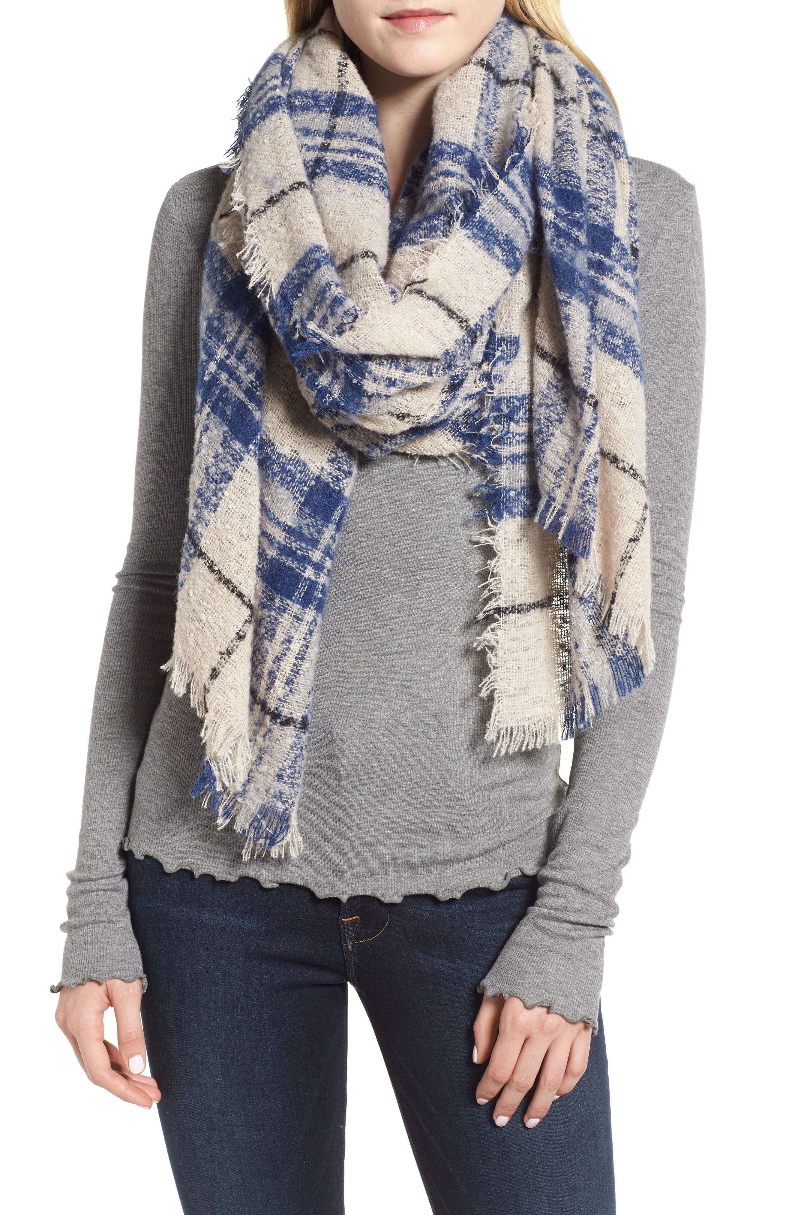 Mixed Plaid Scarf by Sole Society