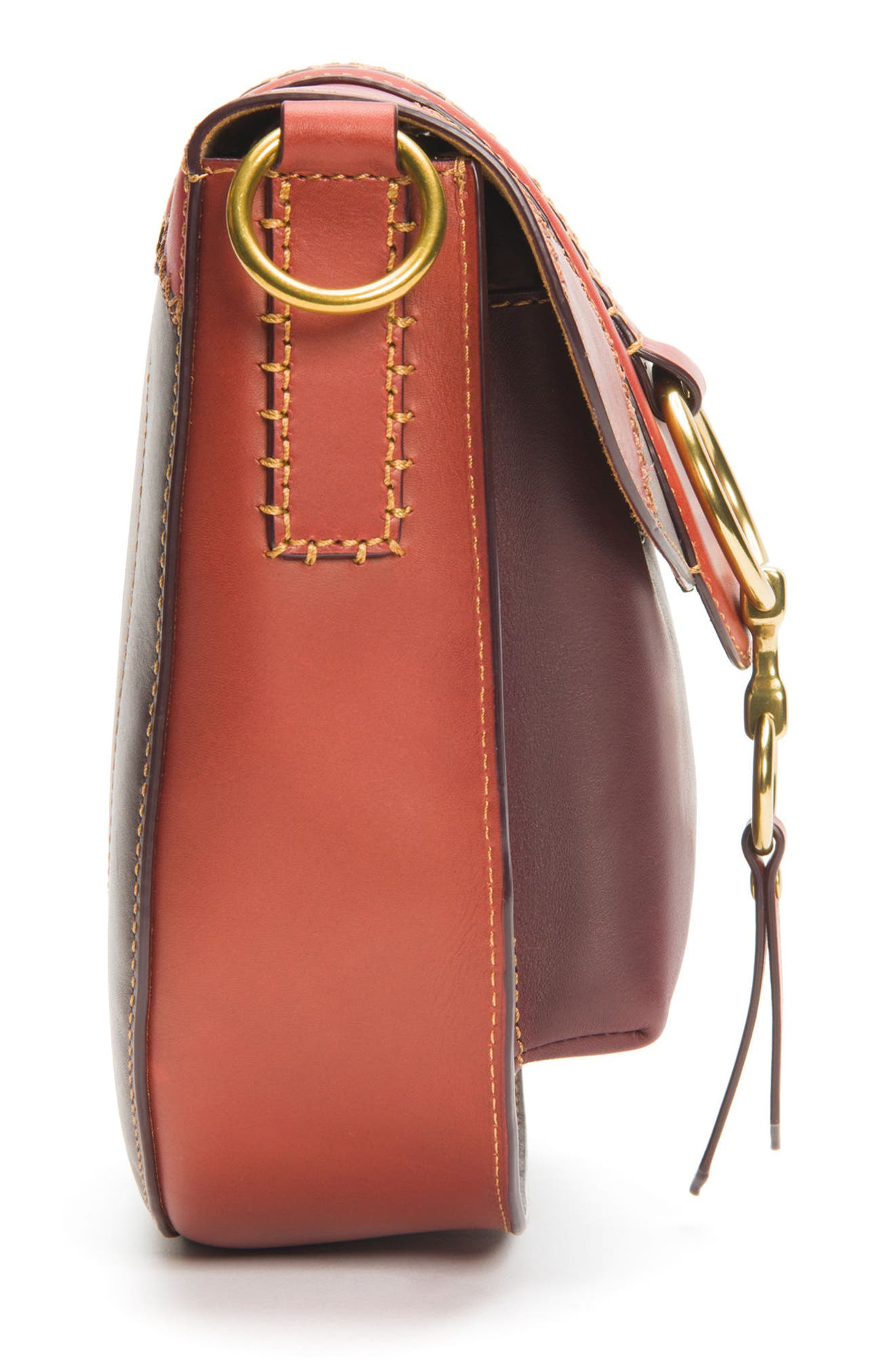Ilana Colorblock Leather Saddle Bag,                             Alternate thumbnail 5, color,                             Red Clay Multi
