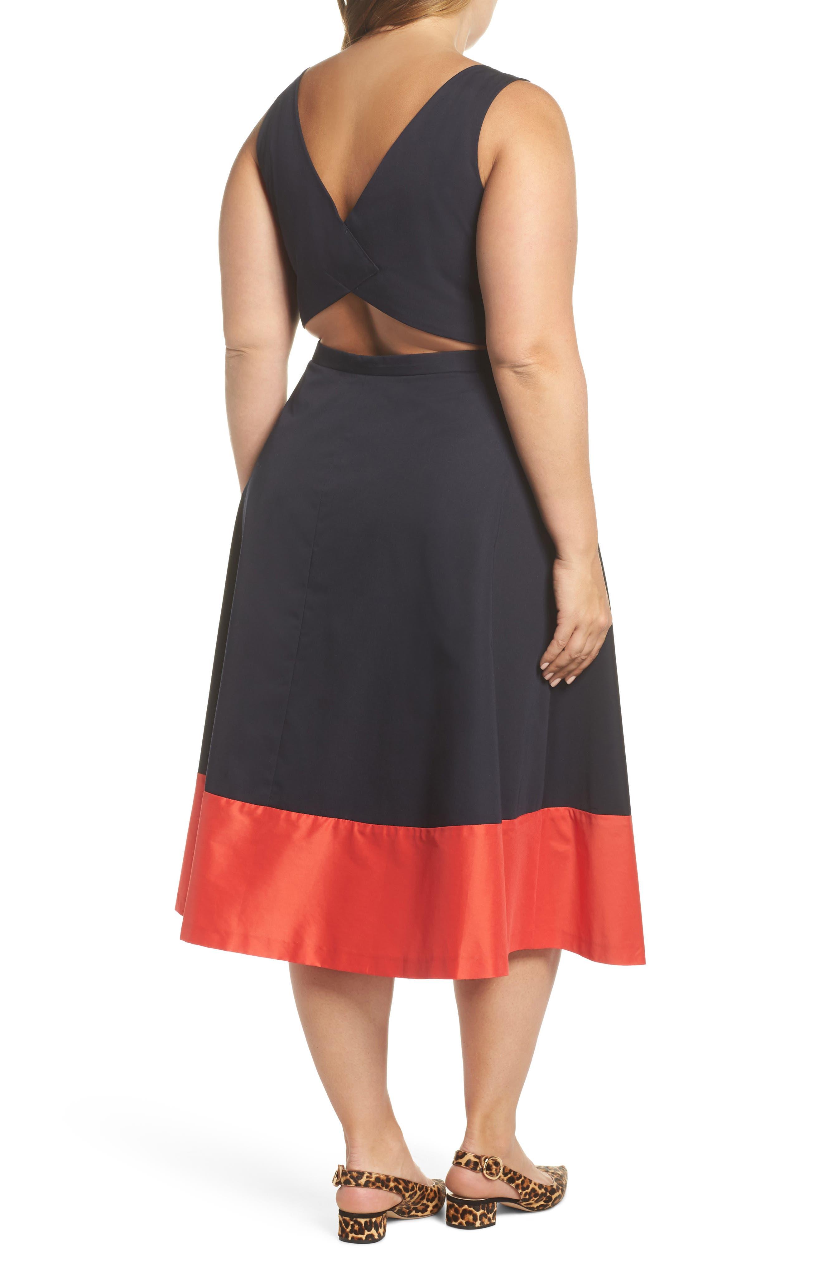 Colorblock Cotton Midi Dress,                             Alternate thumbnail 2, color,                             Navy Red Color Block
