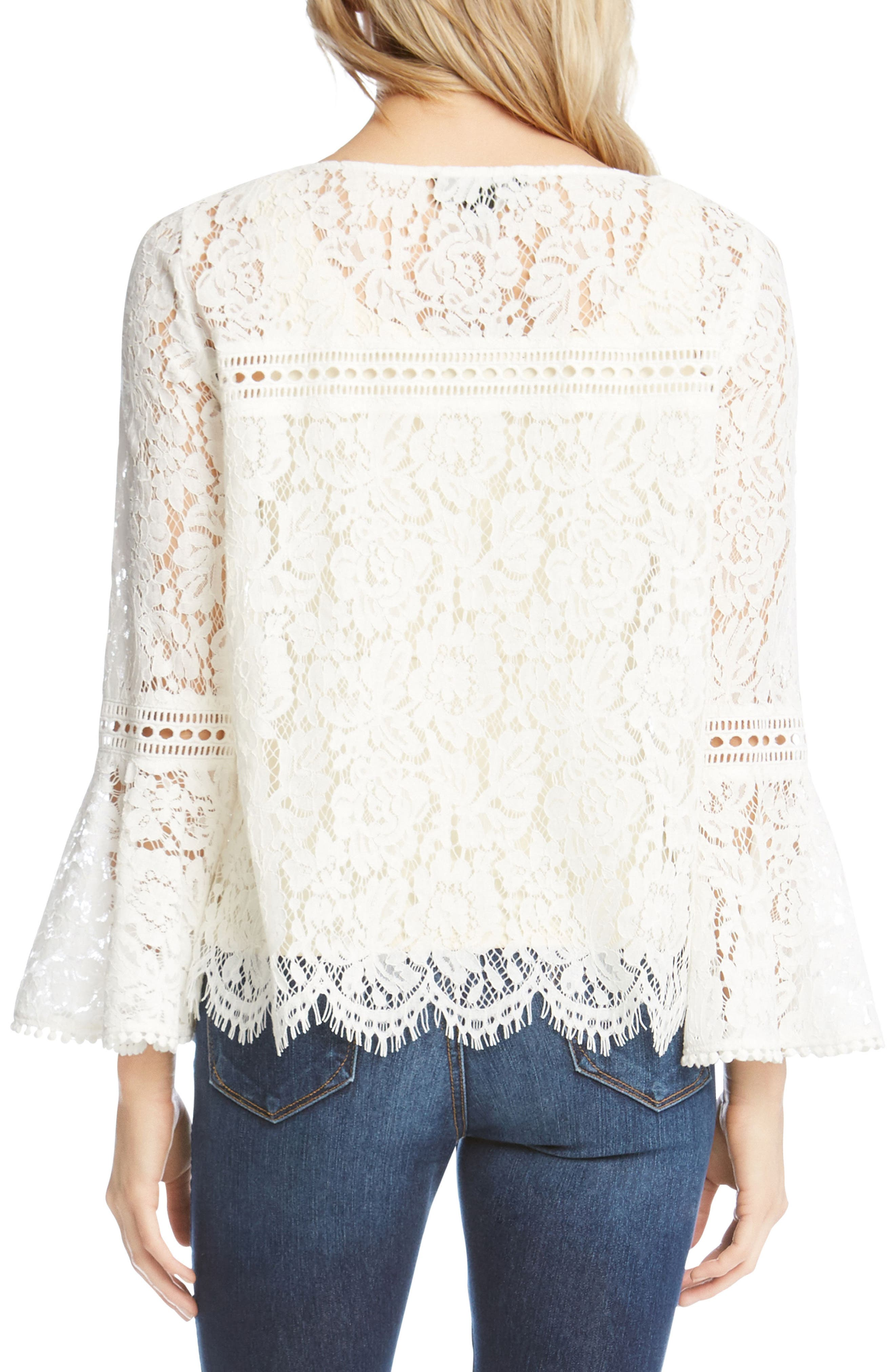 Embellished Lace Bell Sleeve Top,                             Alternate thumbnail 2, color,                             Off White
