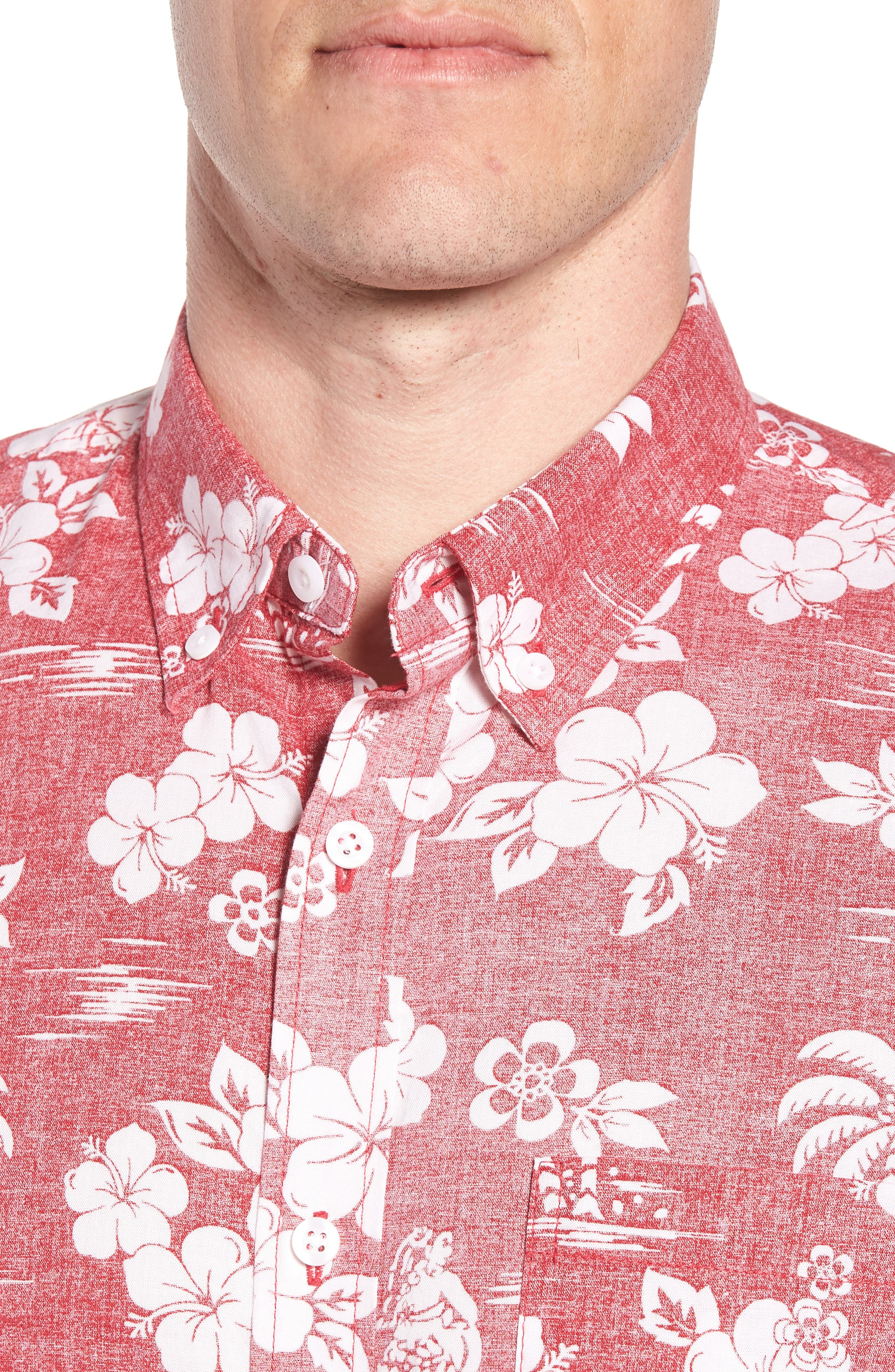 Trim Fit Island Print Sport Shirt,                             Alternate thumbnail 2, color,                             Red Pompeii Hula Girls