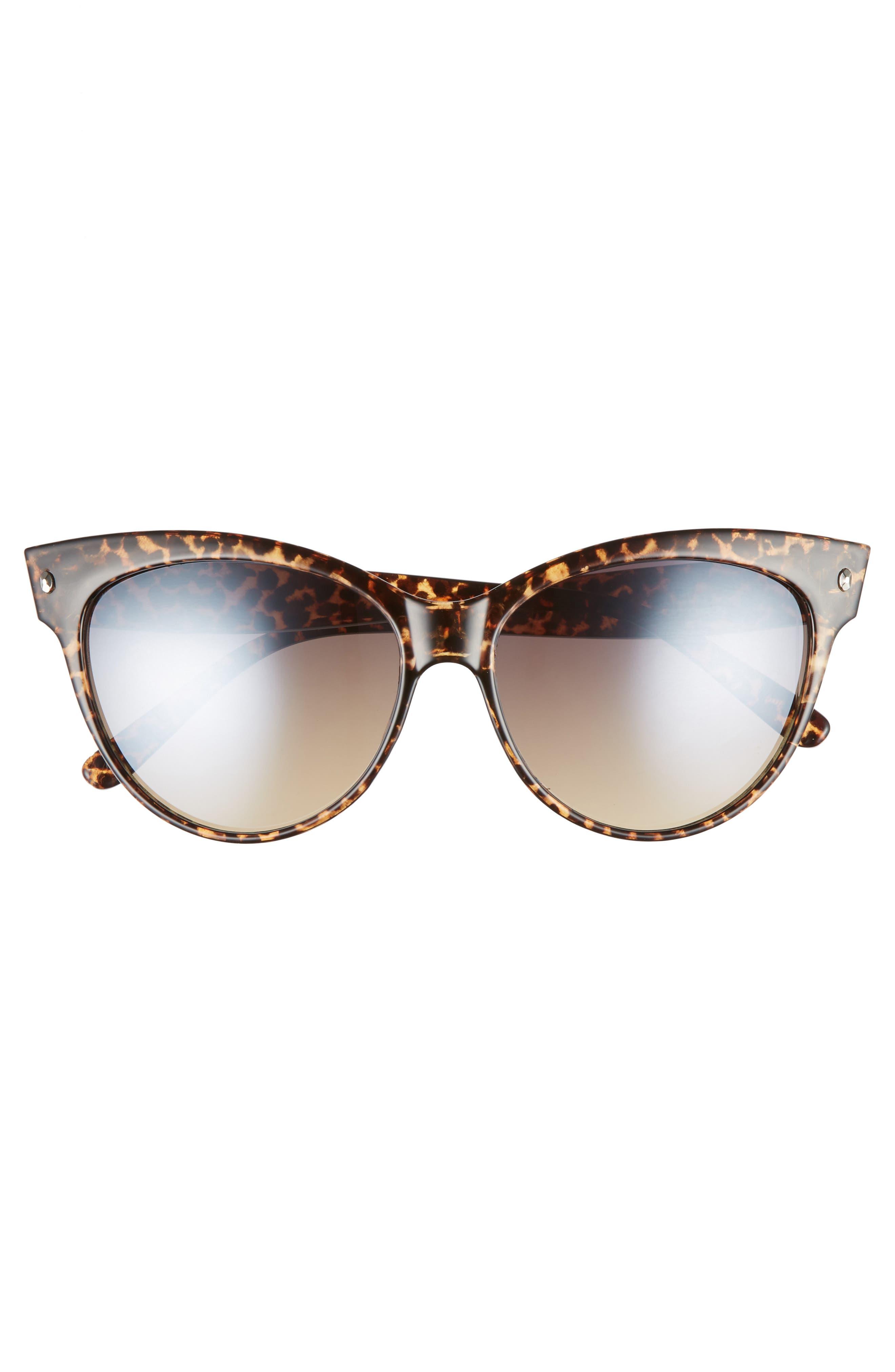 56mm Print Cat Eye Sunglasses,                             Alternate thumbnail 3, color,                             Leopard/ Brown