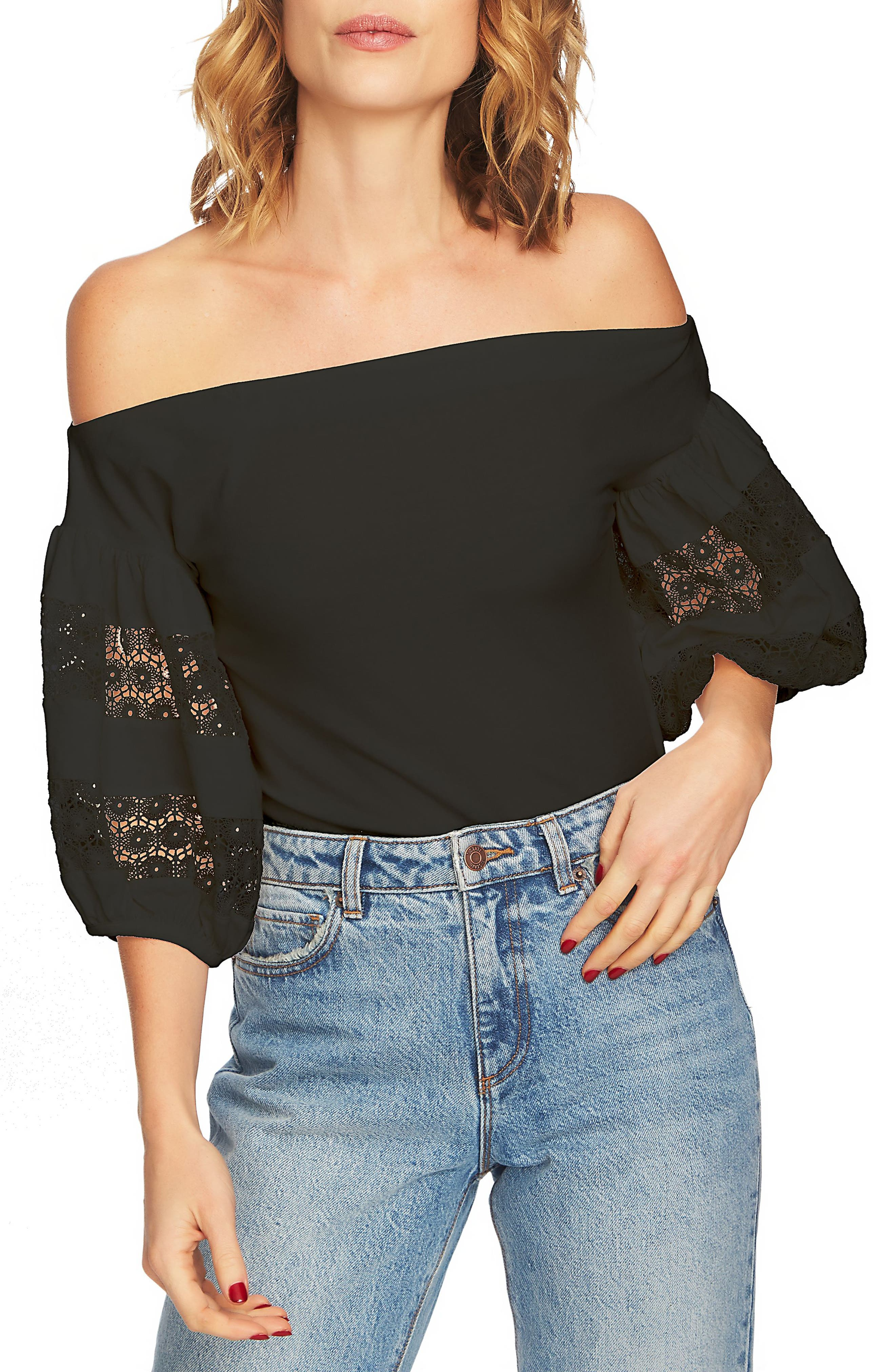 Off the Shoulder Knit Top,                             Main thumbnail 1, color,                             Rich Black
