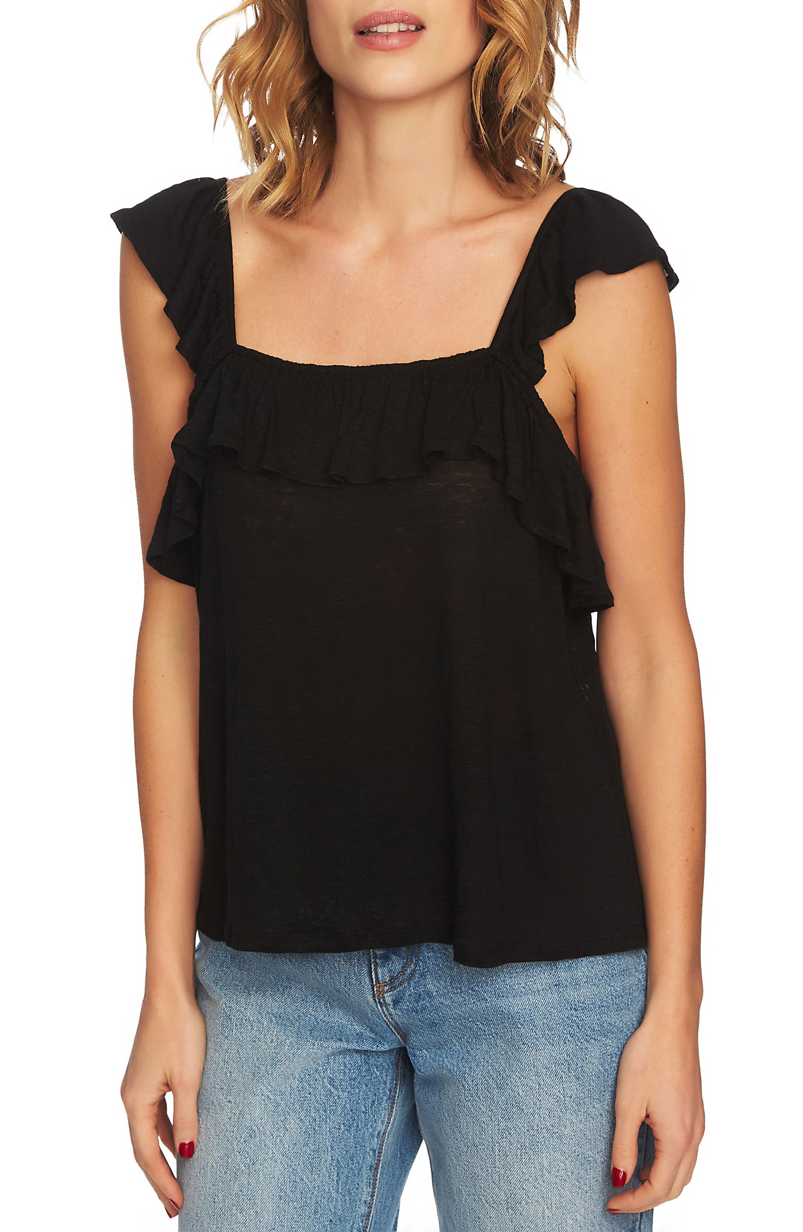 Square Neck Ruffle Top,                         Main,                         color, Rich Black