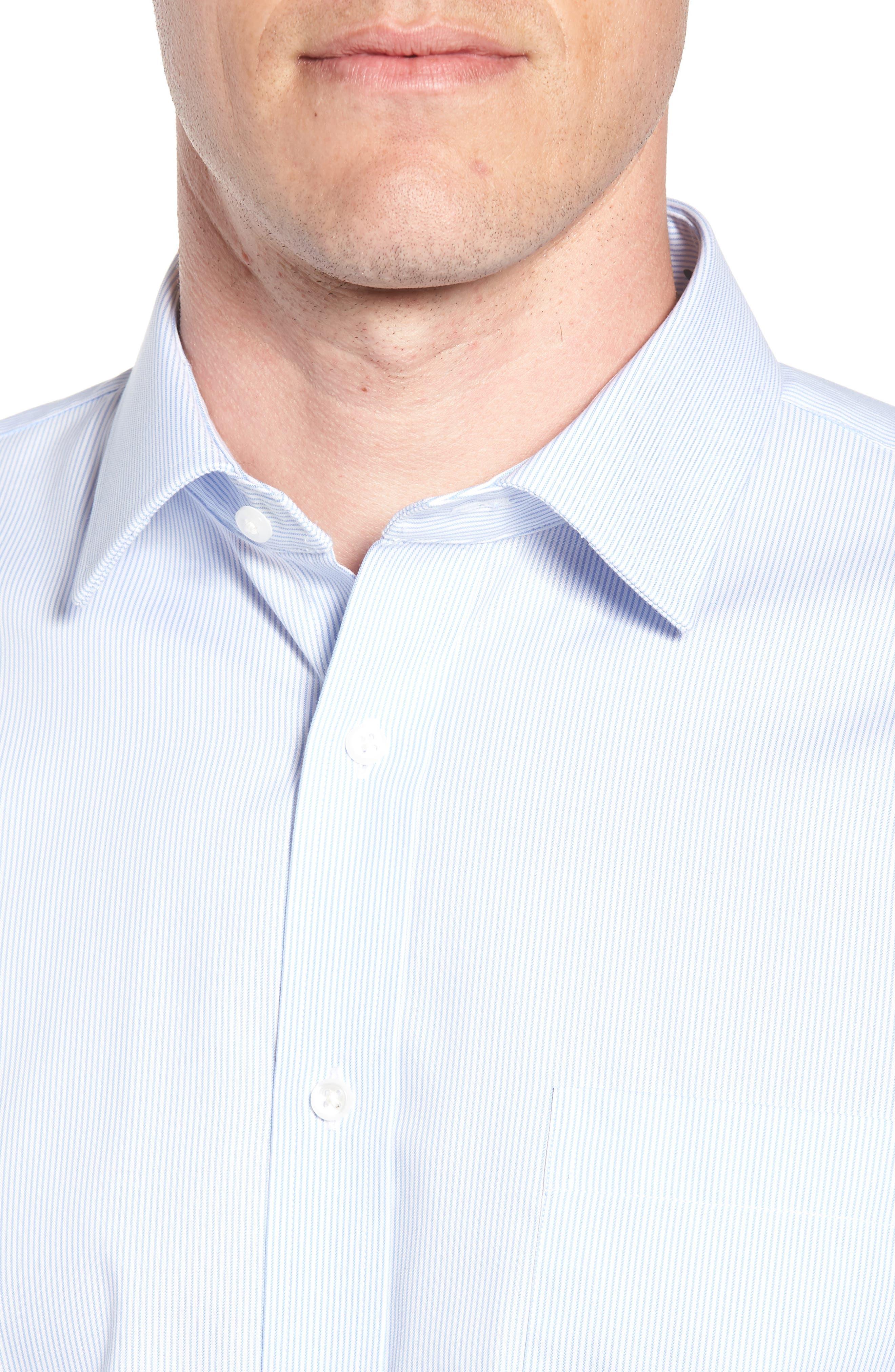 Trim Fit Non-Iron Stripe Dress Shirt,                             Alternate thumbnail 2, color,                             Blue Vista