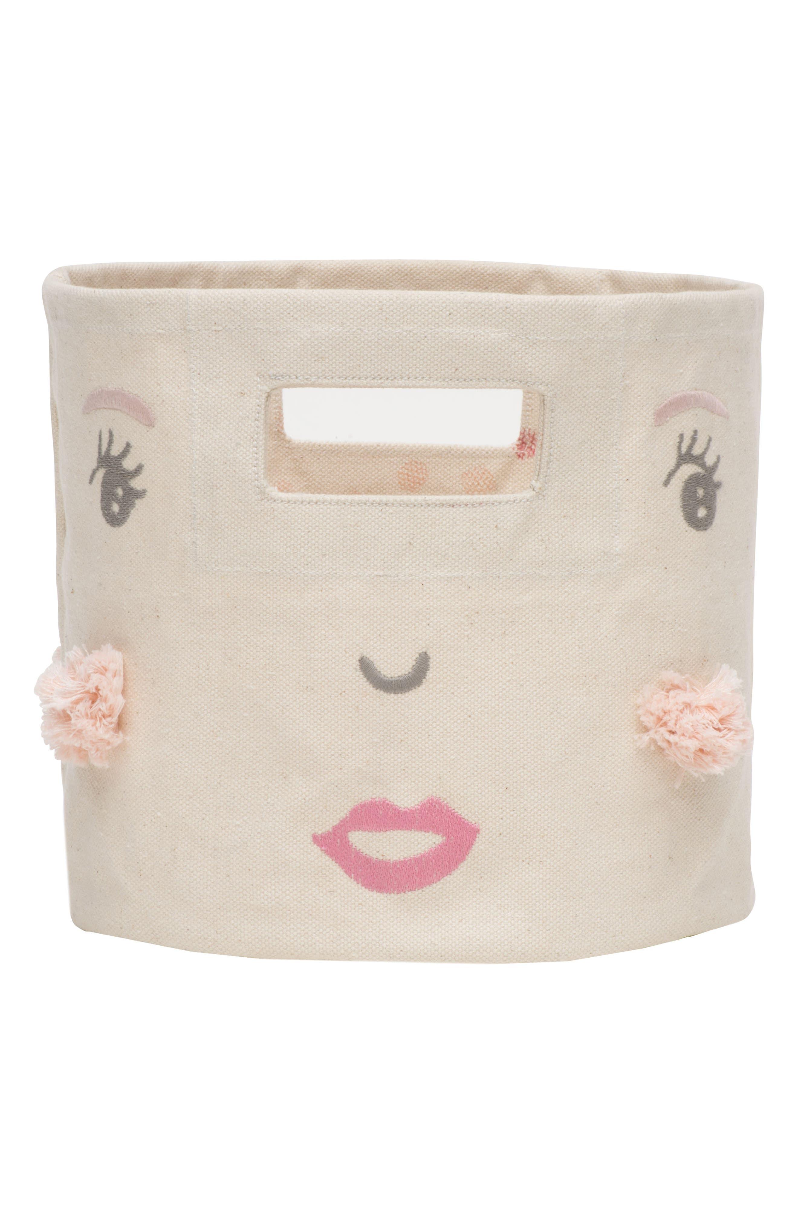 Peek-A-Boo Girl Mini Canvas Bin,                         Main,                         color, Ivory