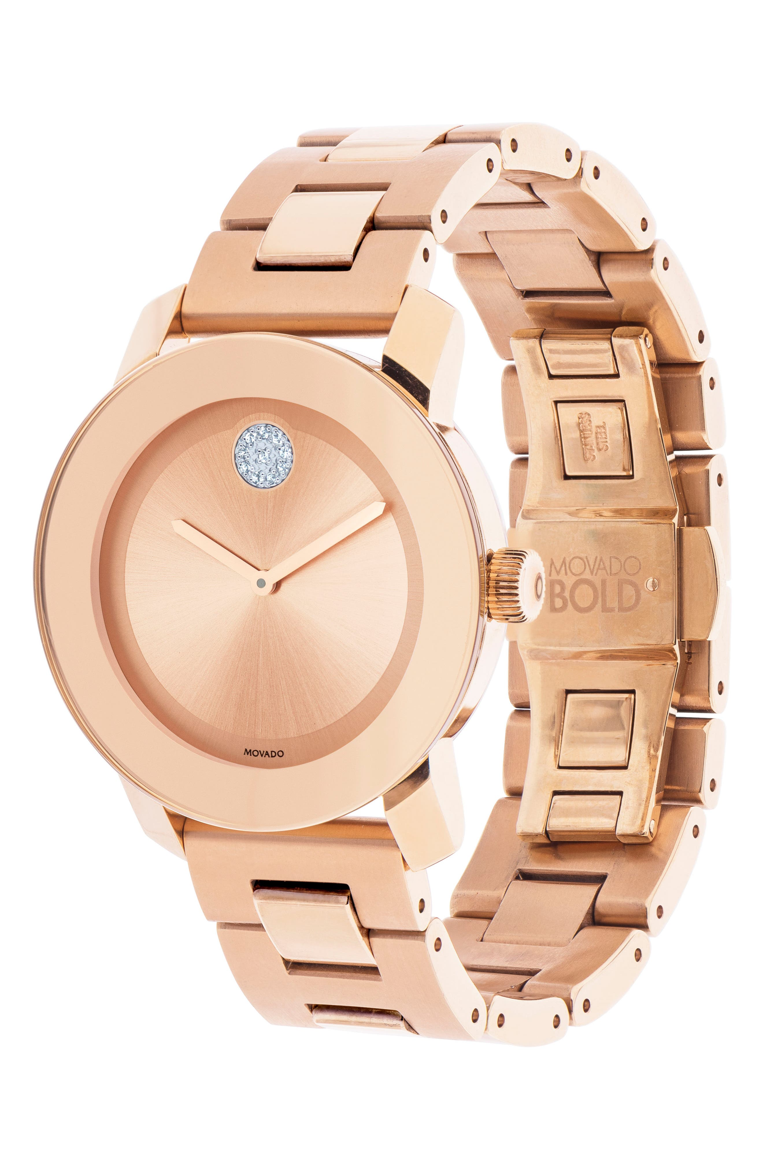 Bold Crystal Marker Bracelet Watch, 37mm,                             Alternate thumbnail 3, color,                             Rosegold