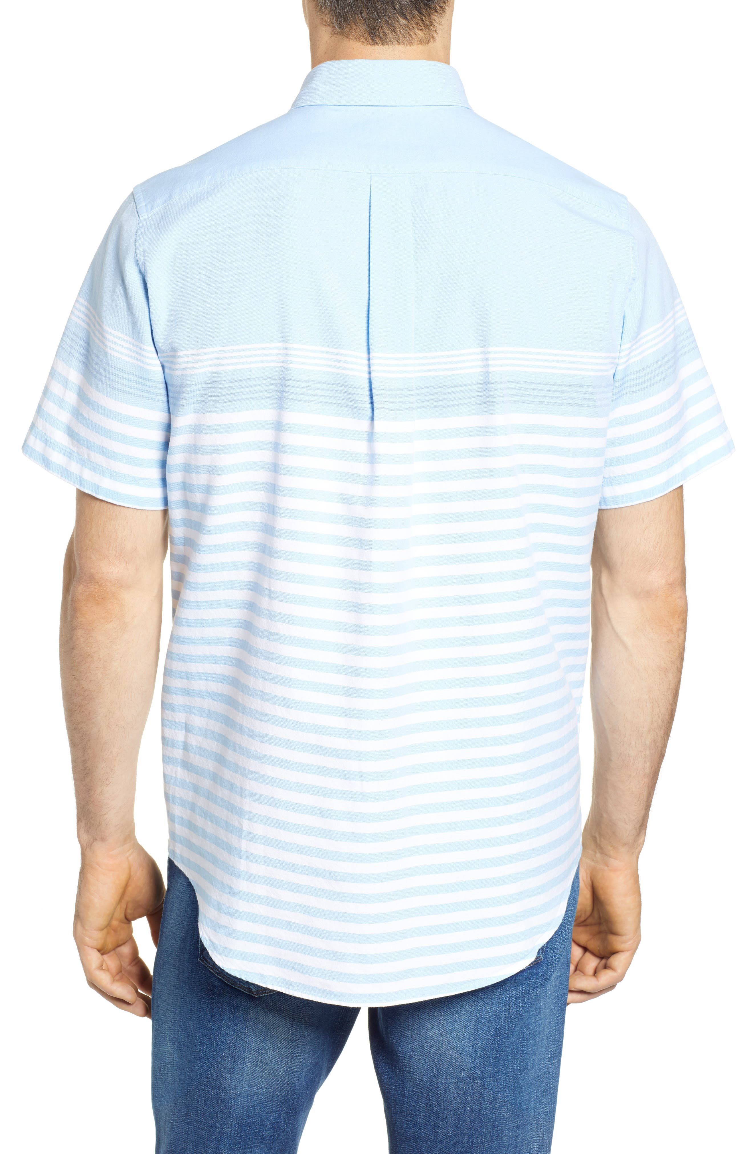 Sea Mist Stretch Short Sleeve Sport Shirt,                             Alternate thumbnail 3, color,                             Ocean Breeze