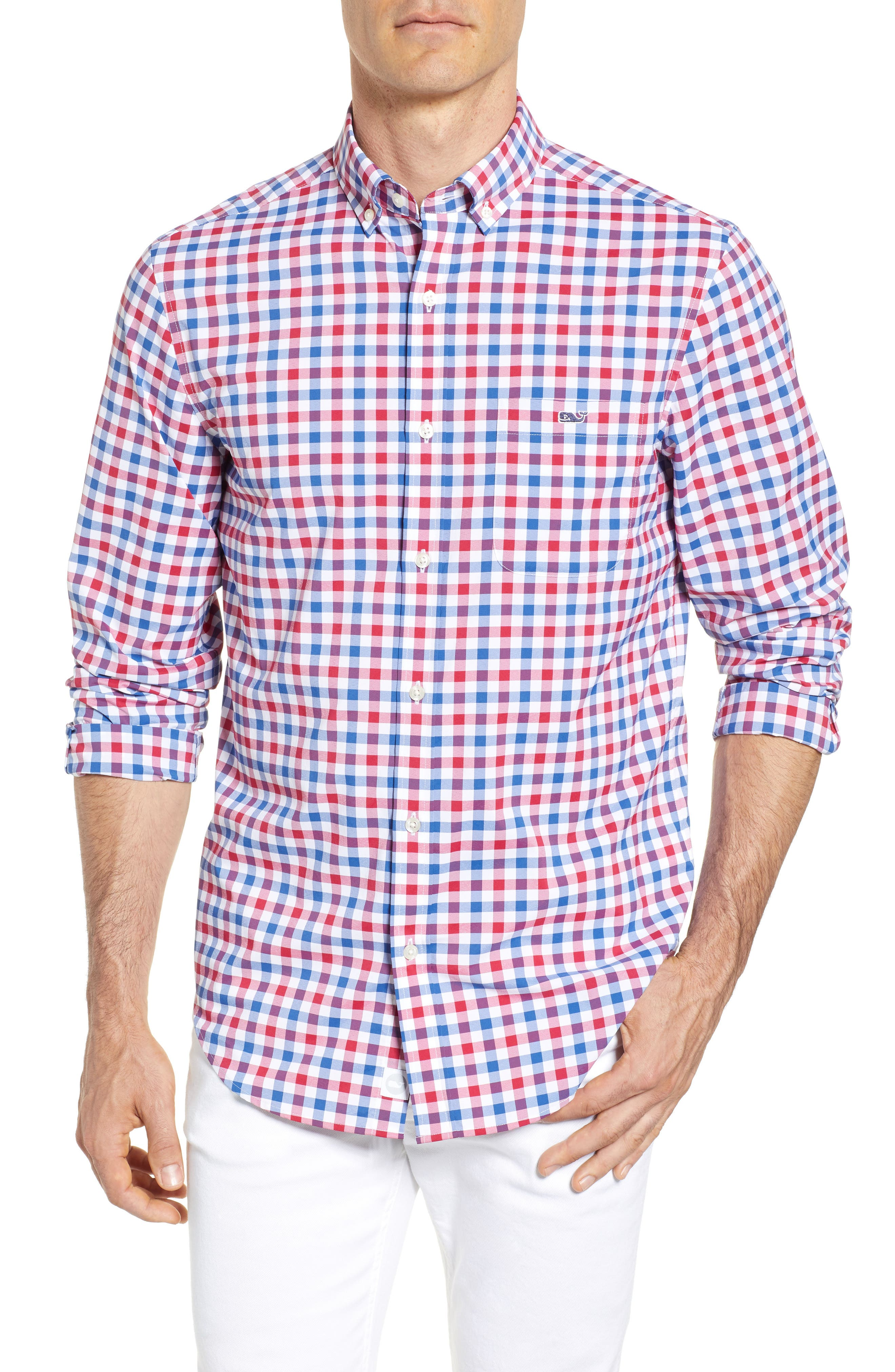 Gull Island Classic Fit Gingham Sport Shirt,                             Main thumbnail 1, color,                             Captains Blue