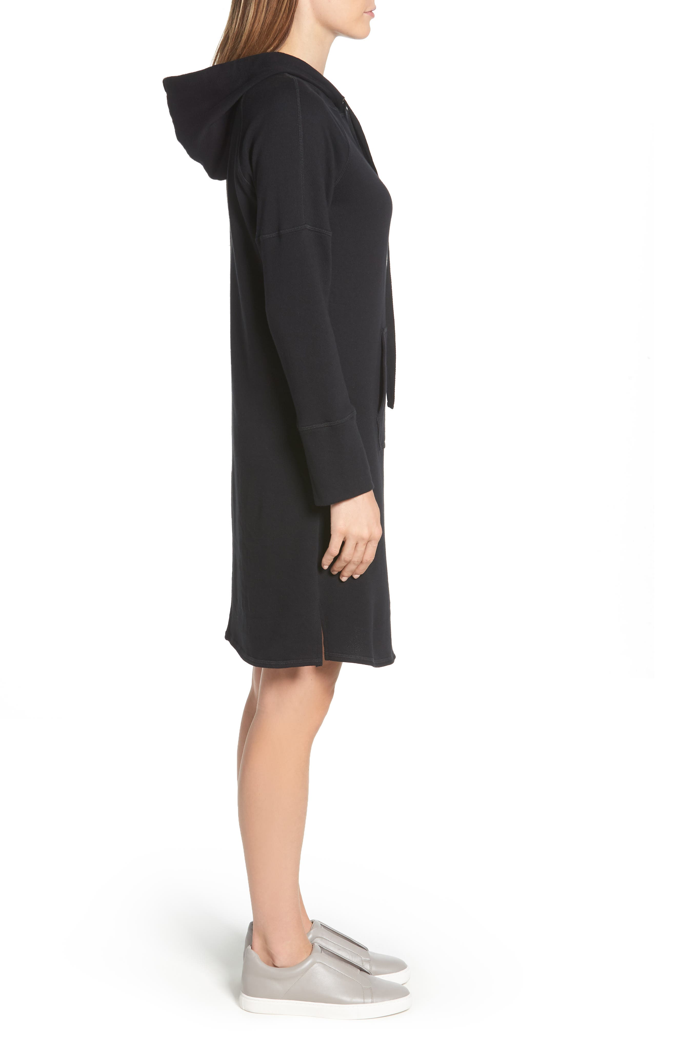 Hooded French Terry Dress,                             Alternate thumbnail 3, color,                             Black