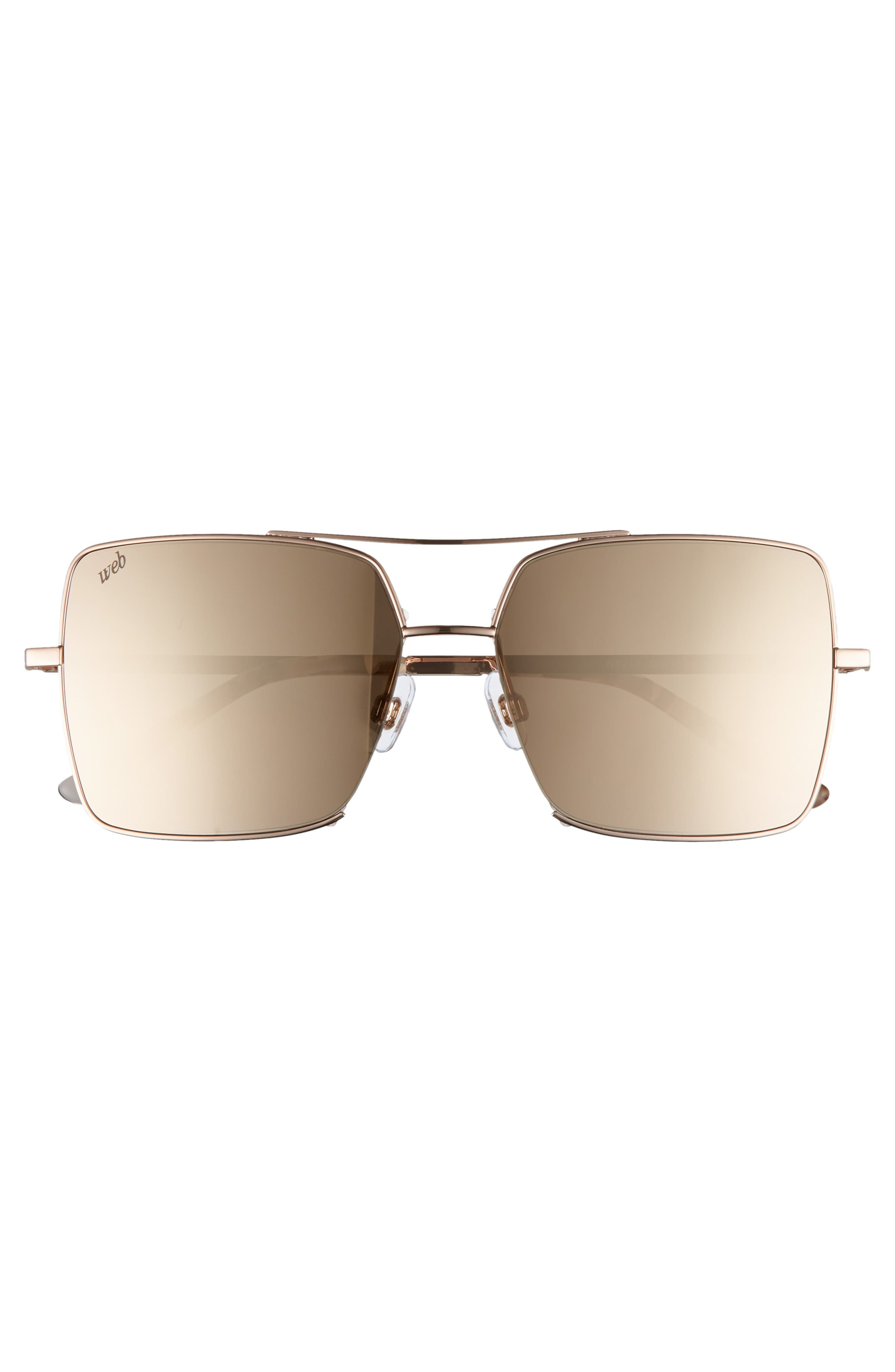 57mm Square Metal Aviator Sunglasses,                             Alternate thumbnail 3, color,                             Light Bronze/ Brown