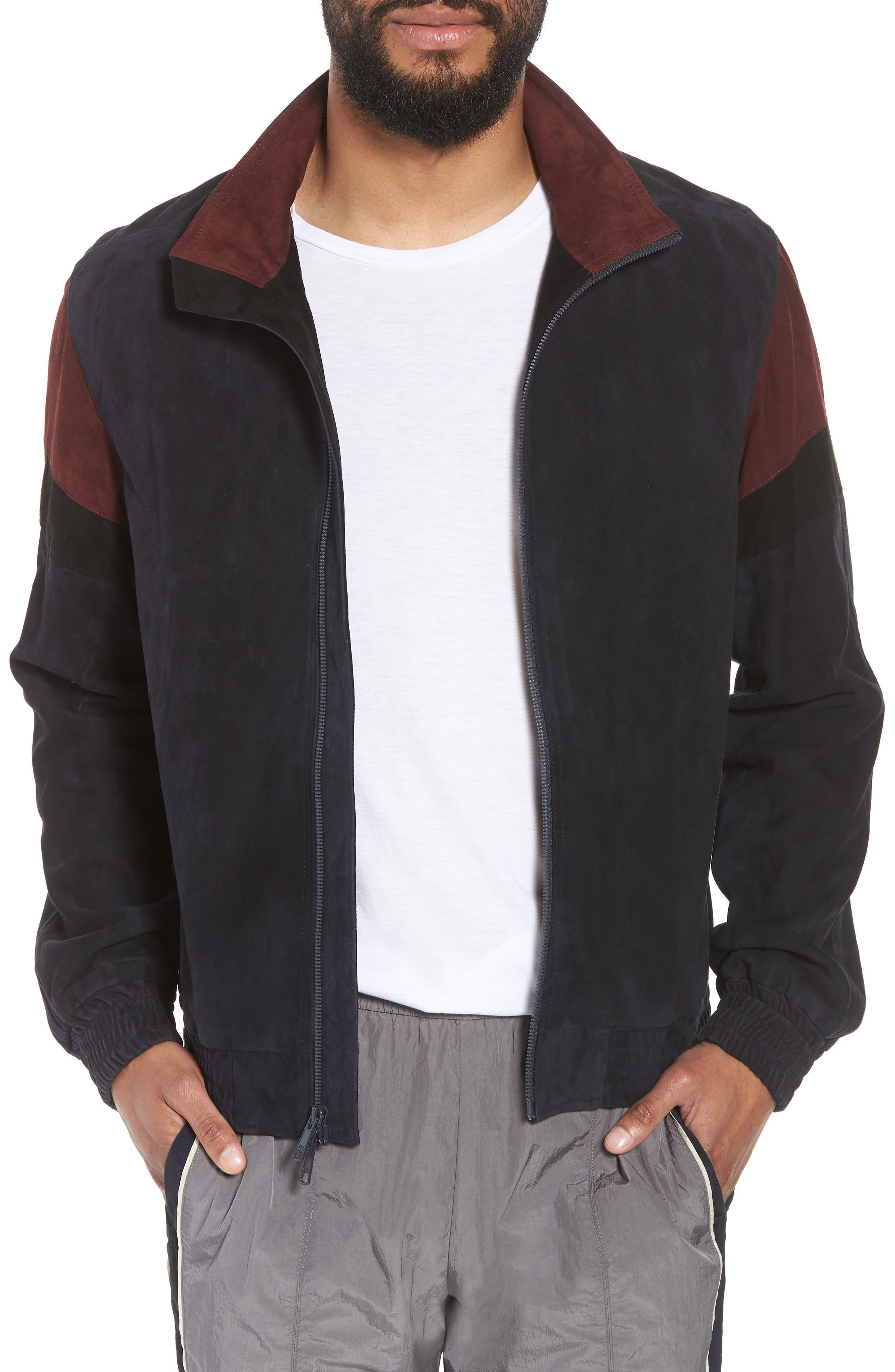 Colorblock Leather Track Jacket,                             Main thumbnail 1, color,                             New Coastal