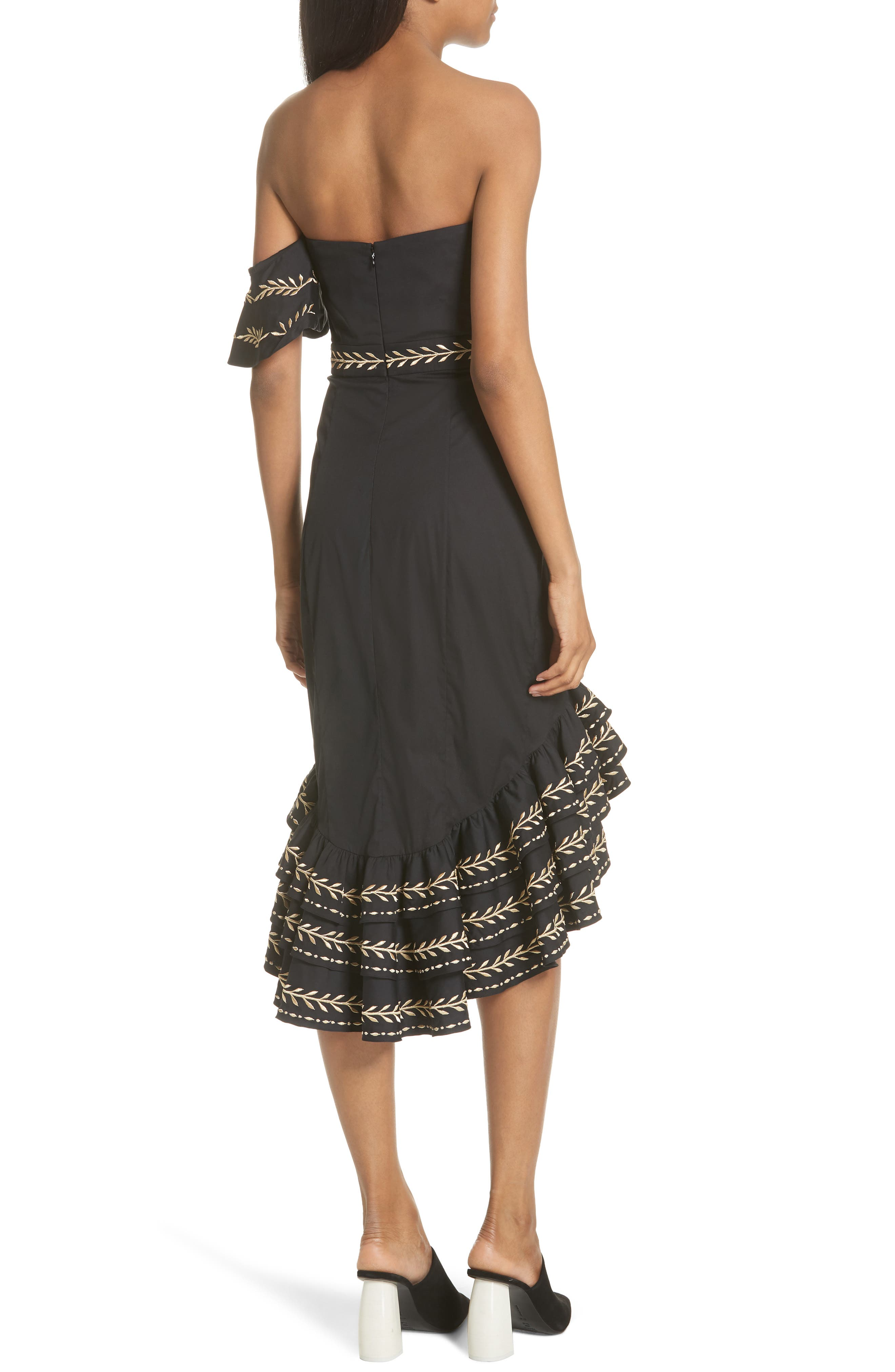 Cam Embroidered Asymmetrical Ruffle Dress,                             Alternate thumbnail 2, color,                             Black/ Gold
