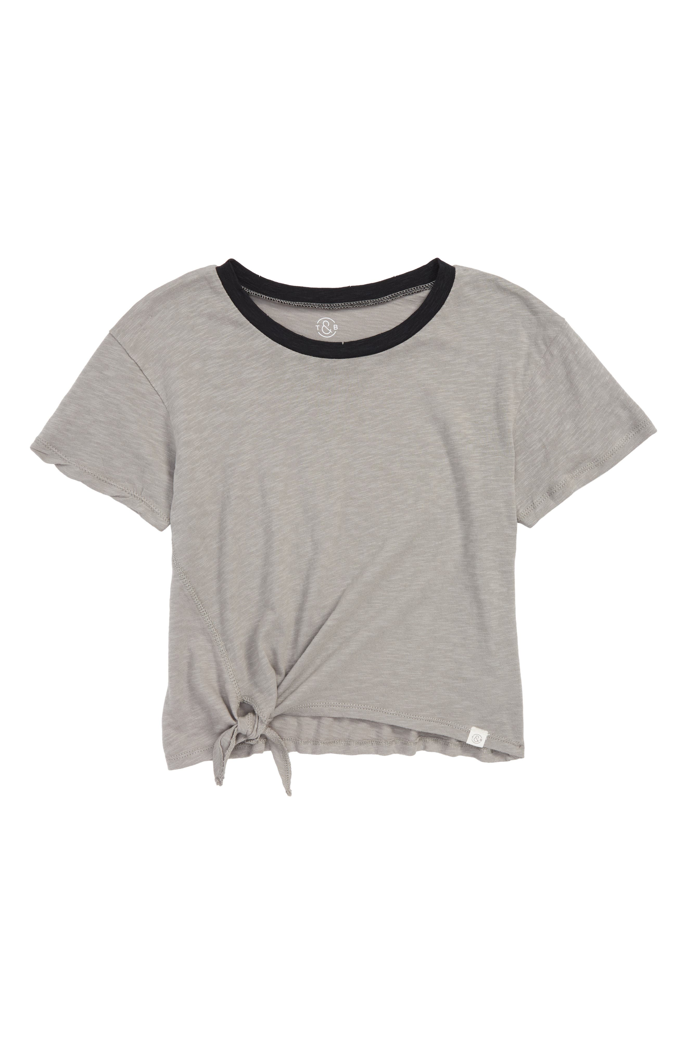 Knotted Ringer Tee,                         Main,                         color, Grey Cloudburst