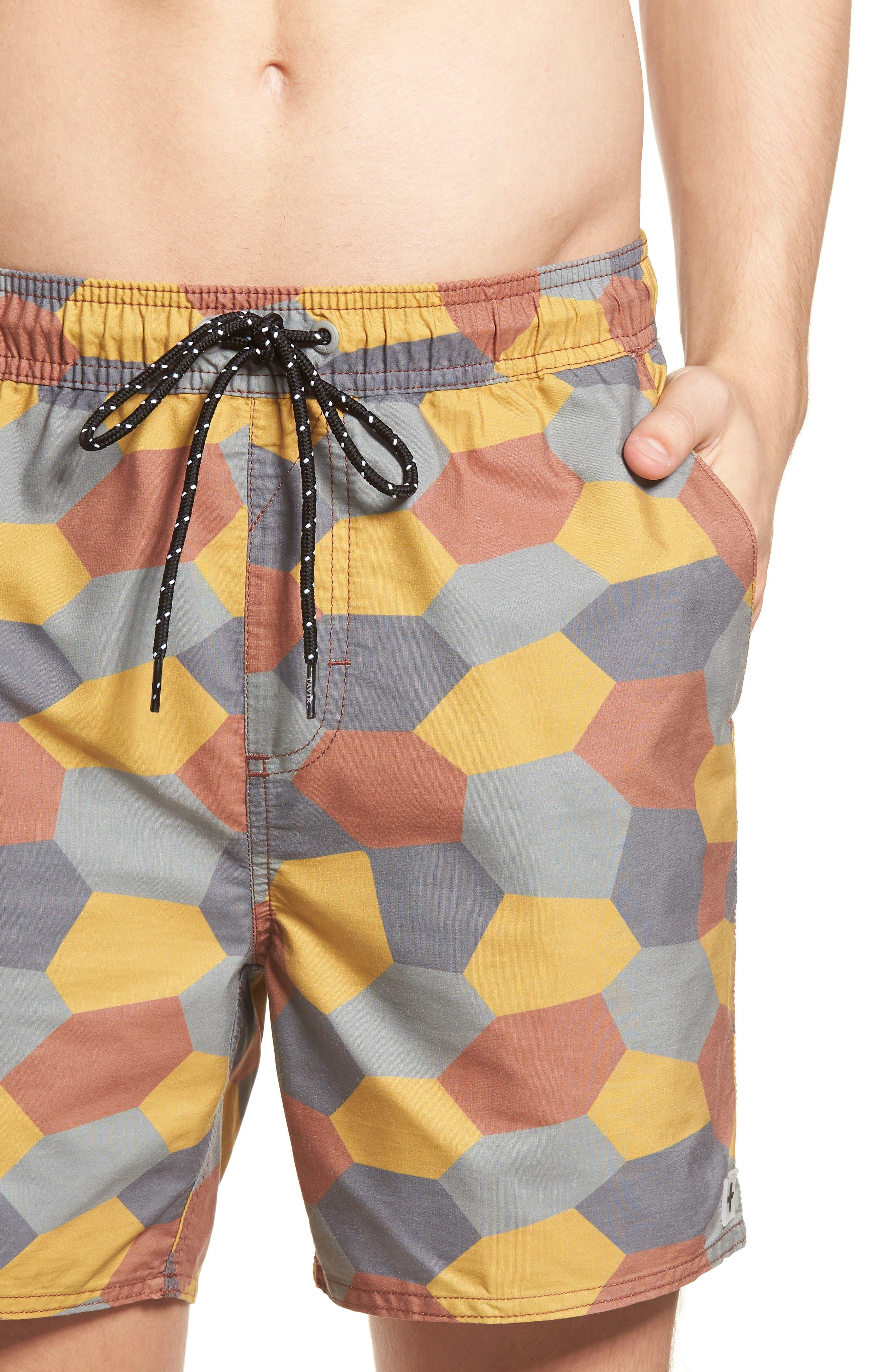 Belmont Pool Shorts,                             Alternate thumbnail 4, color,                             Coastal Orange Geo Camo