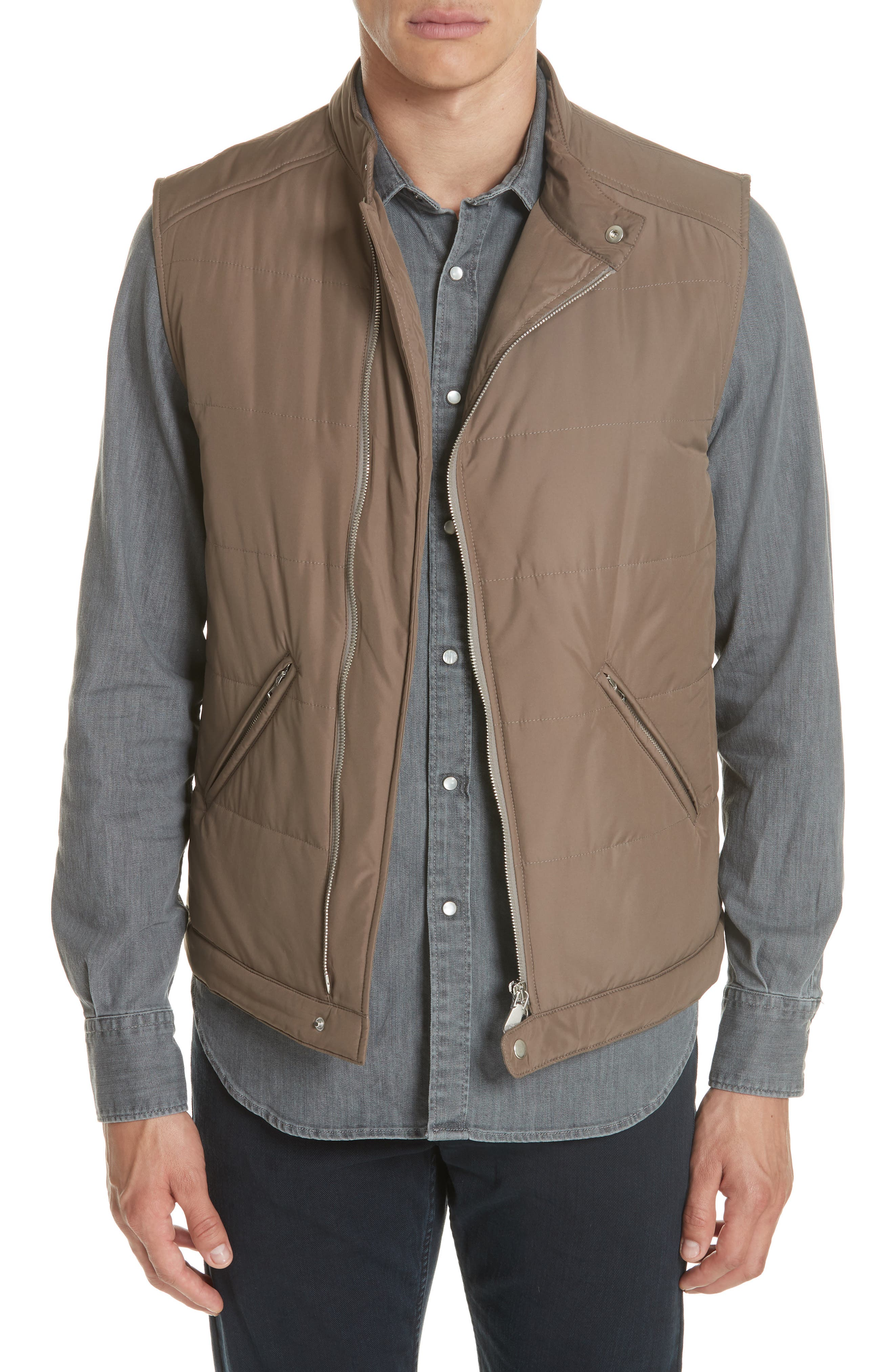 Quilted Vest,                         Main,                         color, Taupe