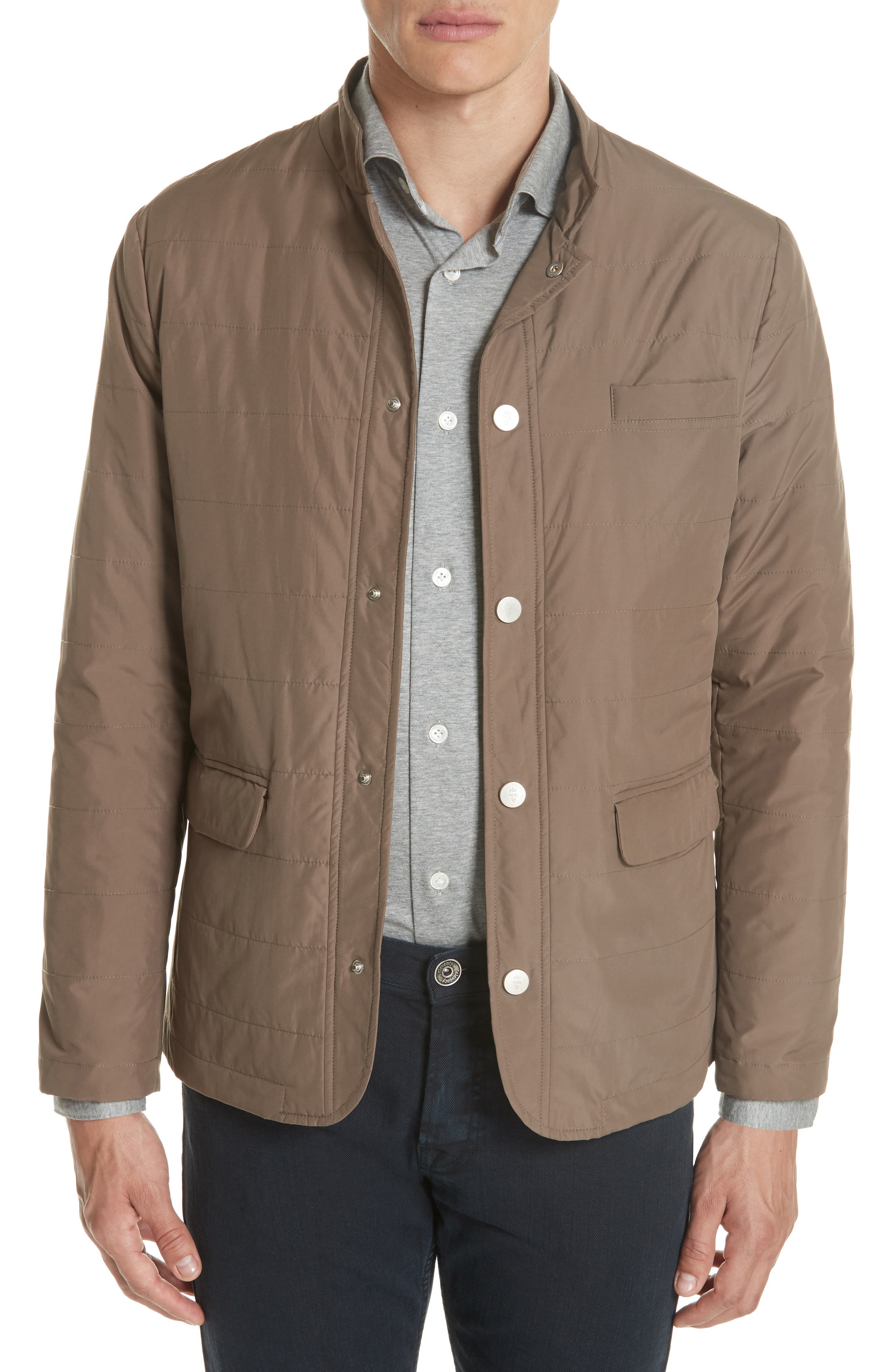 Quilted Jacket,                         Main,                         color, Taupe