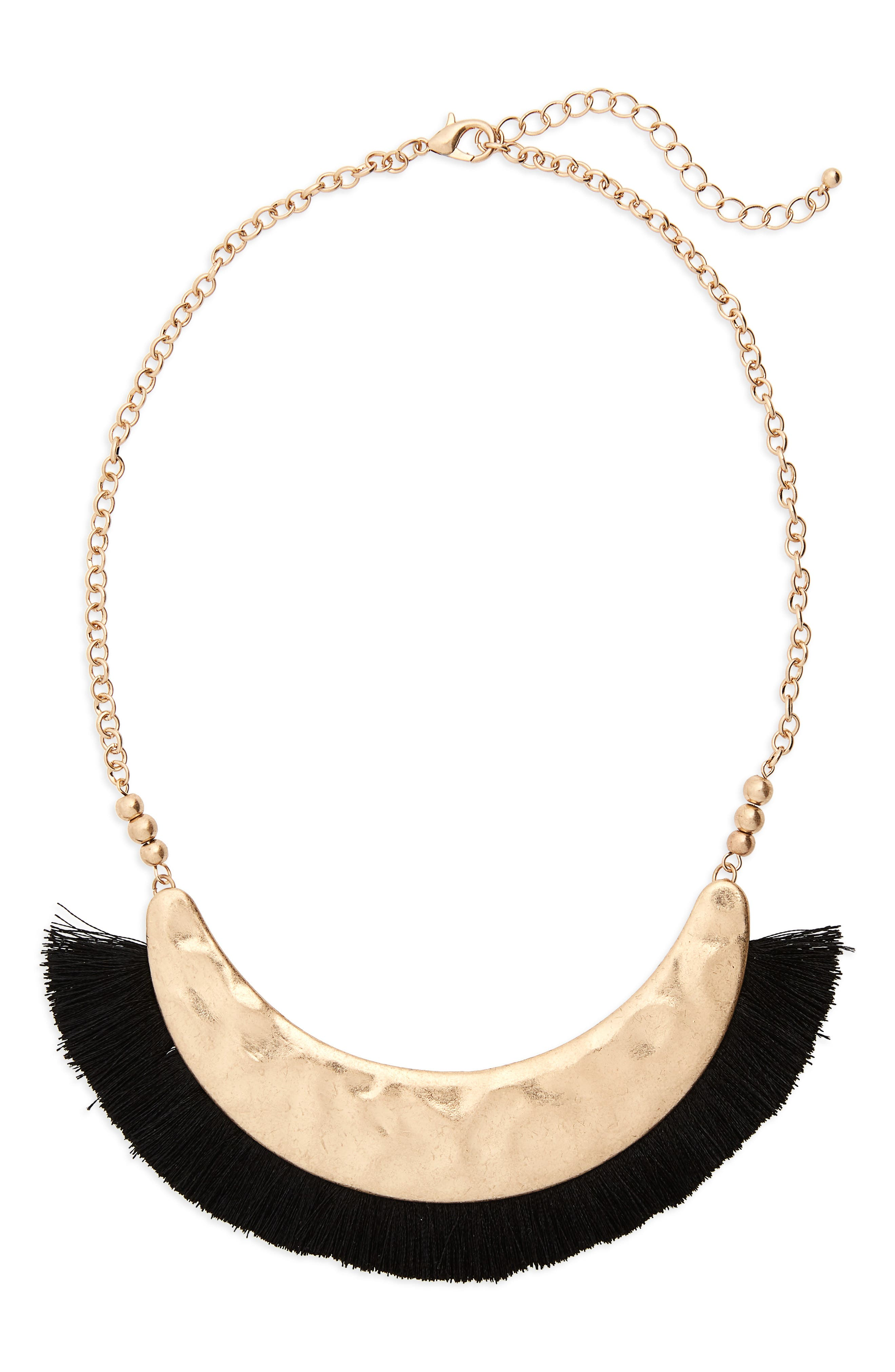 Fringe Collar Necklace,                             Main thumbnail 1, color,                             Black