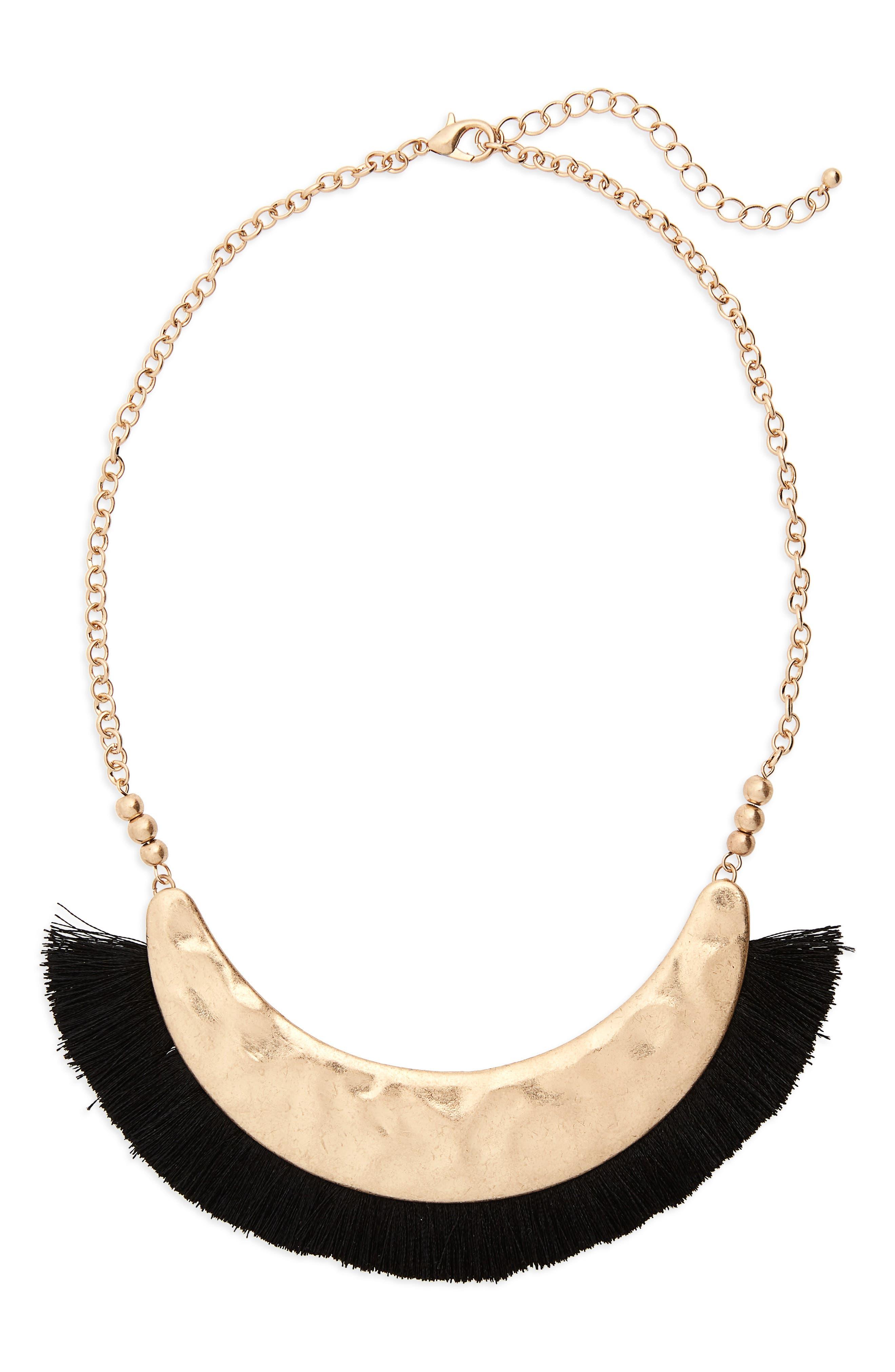 Fringe Collar Necklace,                         Main,                         color, Black