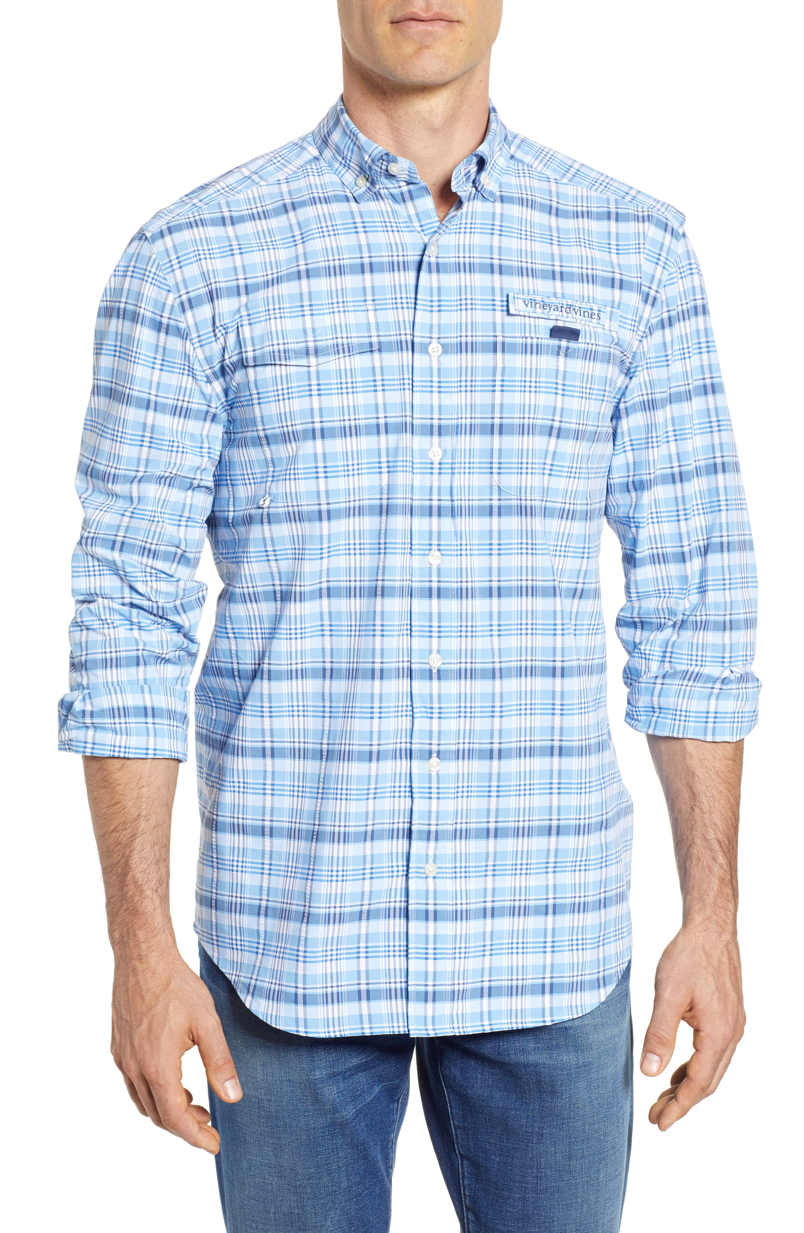 Prospect Hill Harbor Regular Fit Plaid Performance Sport Shirt,                             Main thumbnail 1, color,                             Ocean Breeze