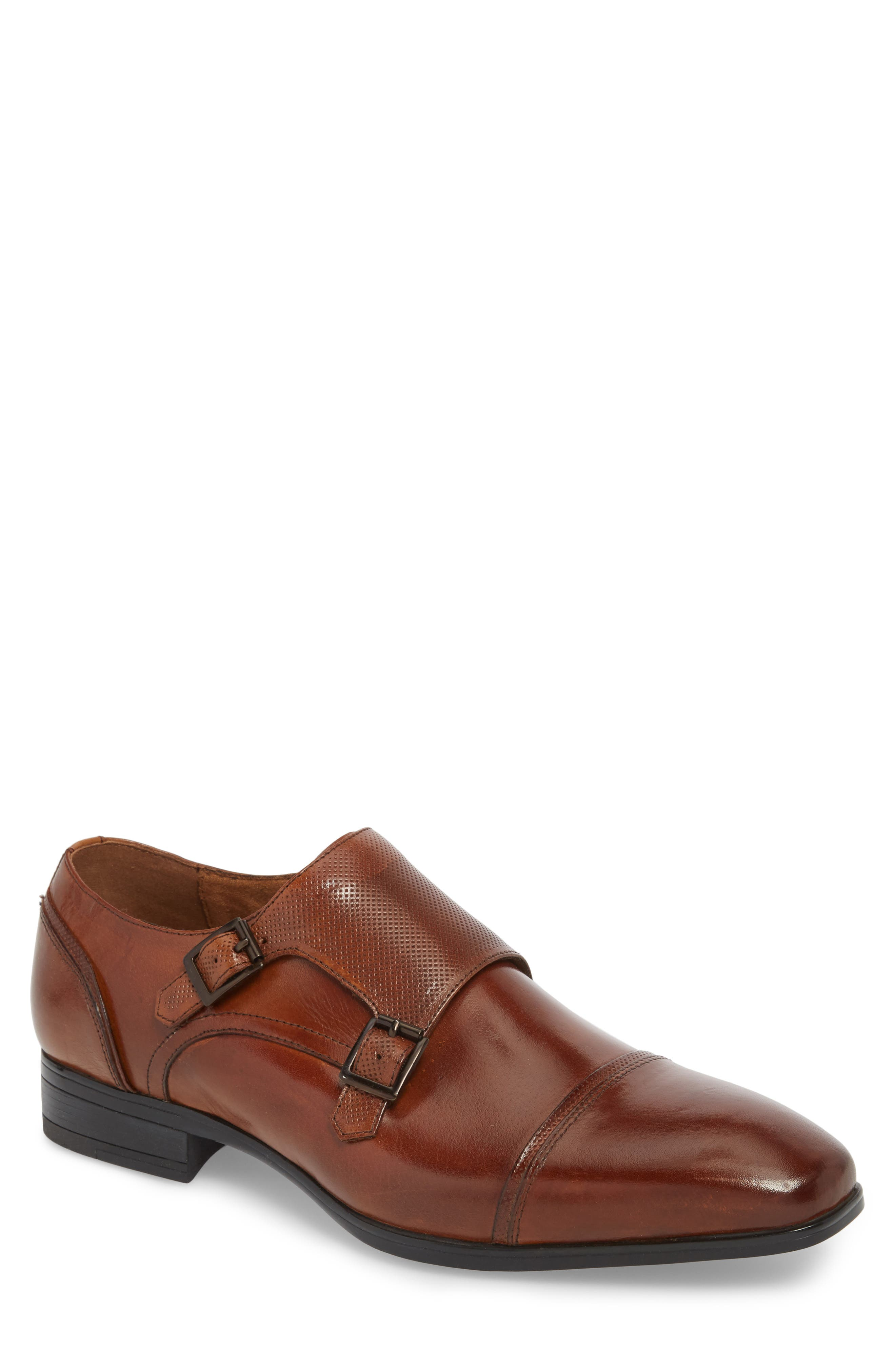 Oliver Cap Toe Monk Shoe,                             Main thumbnail 1, color,                             Cognac Leather