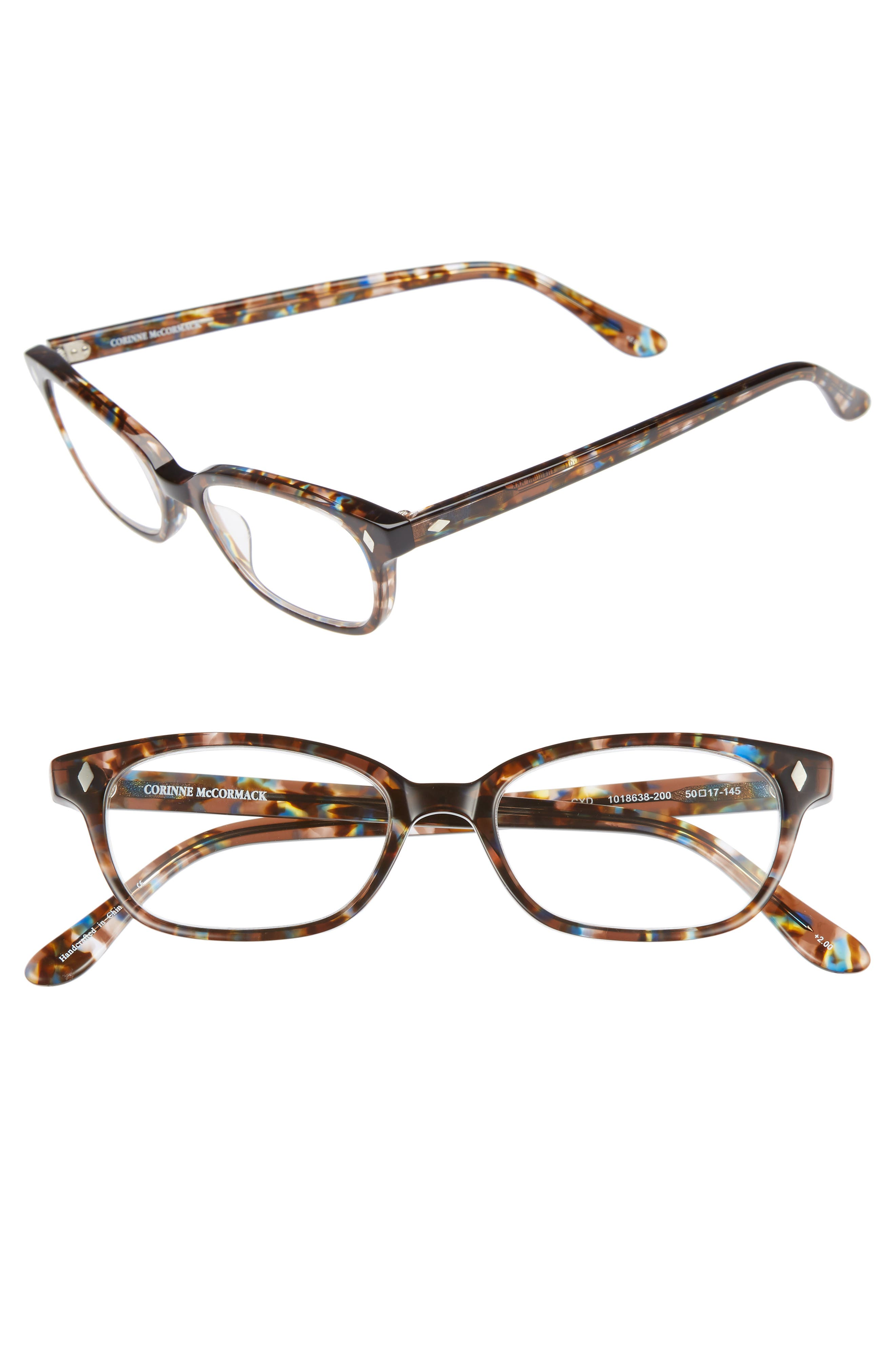 'Cyd' 50mm Reading Glasses,                             Main thumbnail 1, color,                             Transparent Brown Marble