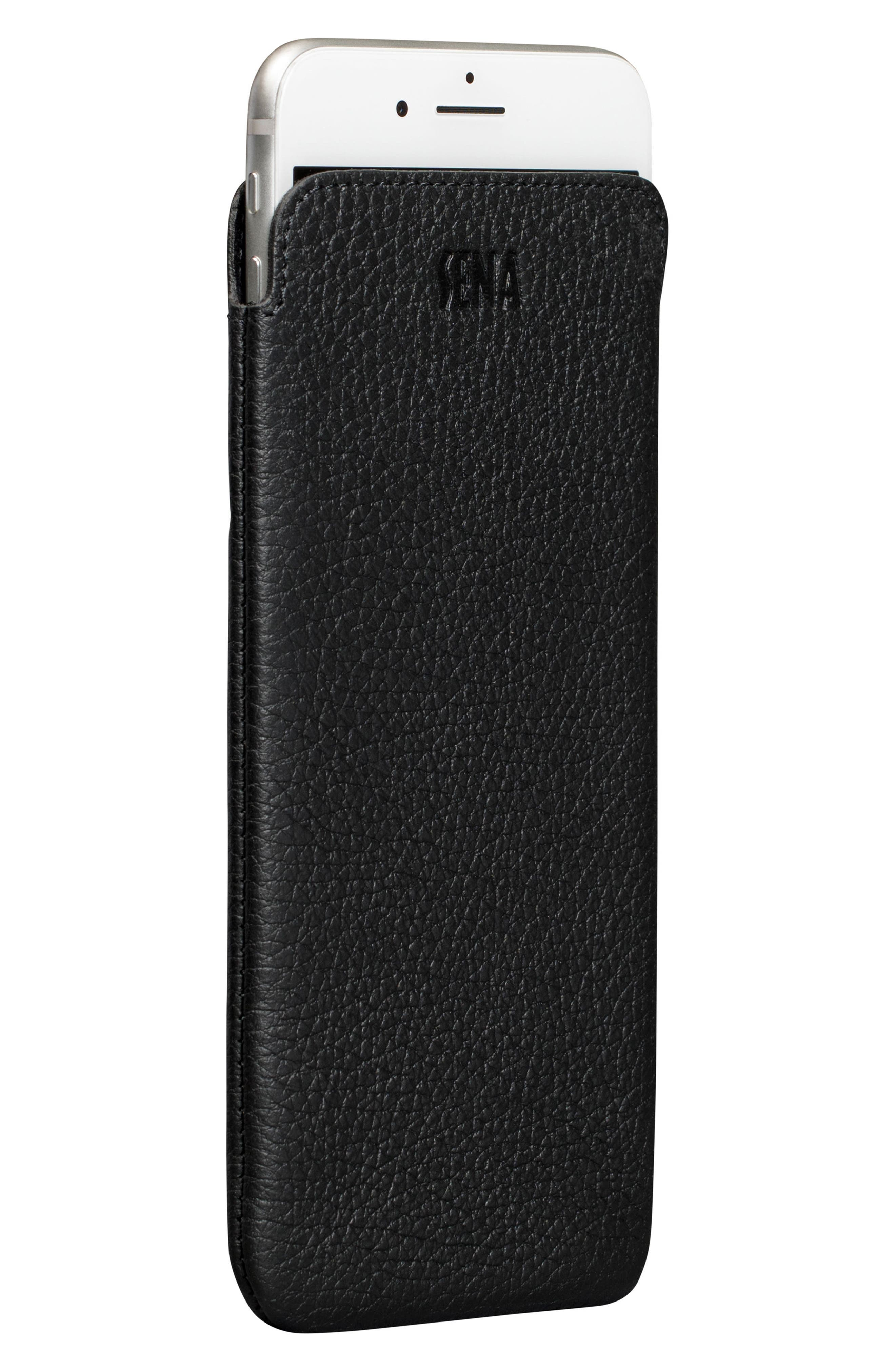 Ultraslim iPhone 6/7/8 Plus Leather Sleeve,                             Main thumbnail 1, color,                             Black