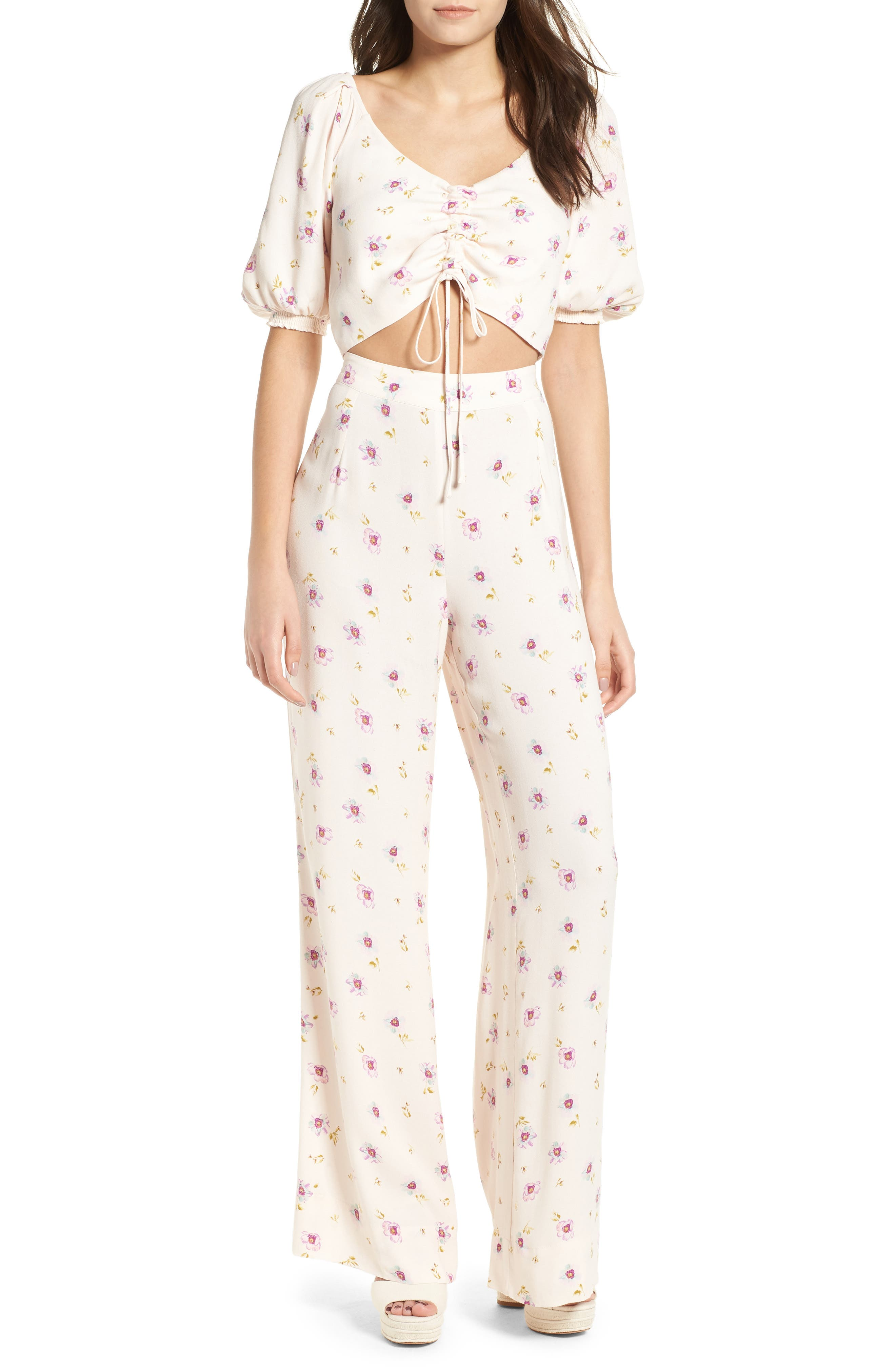 Rodeo Ruched Crop Top,                             Alternate thumbnail 2, color,                             Lilac Floral