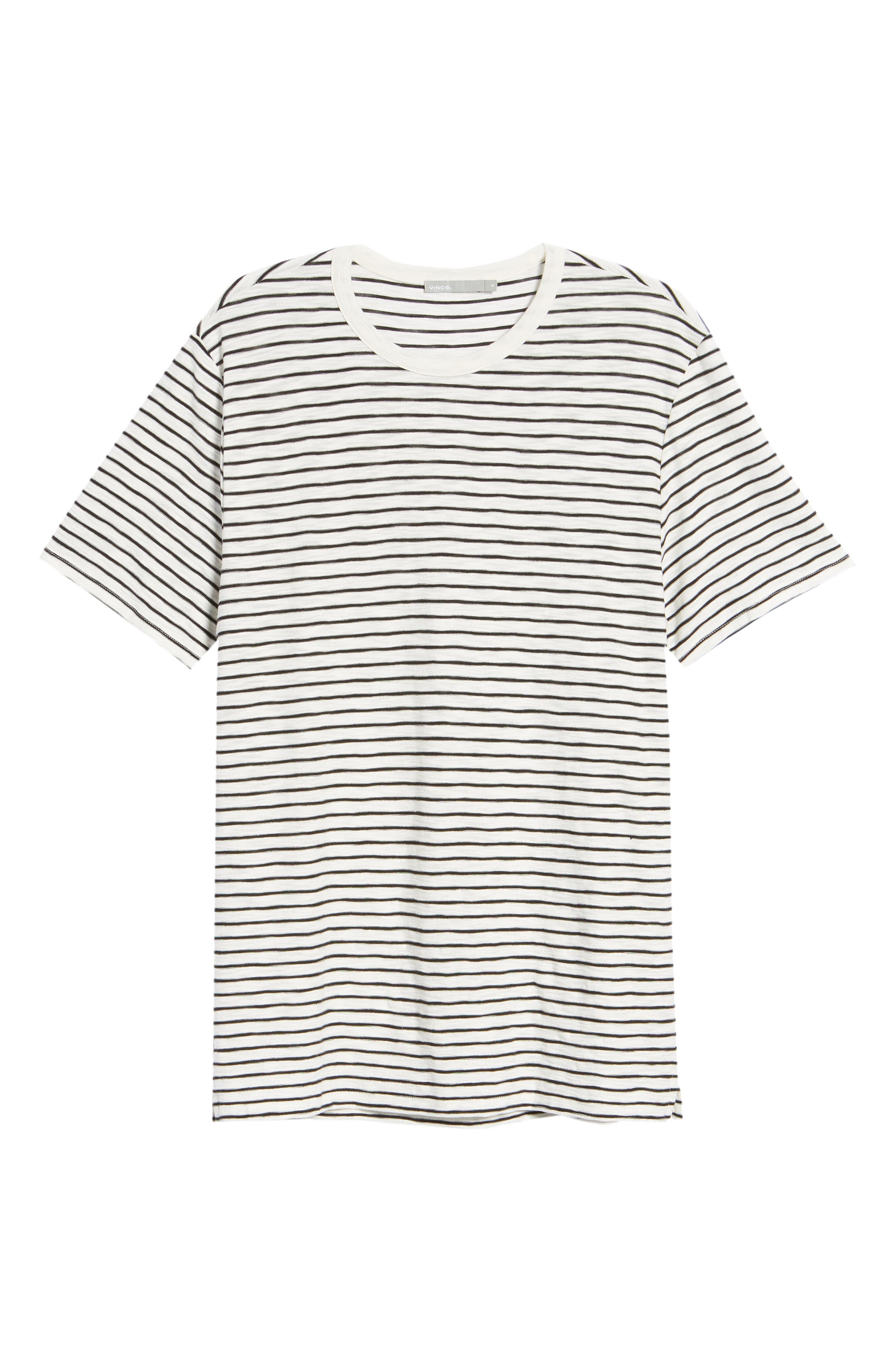 Stripe Crewneck T-Shirt,                             Alternate thumbnail 6, color,                             Off White/ Black