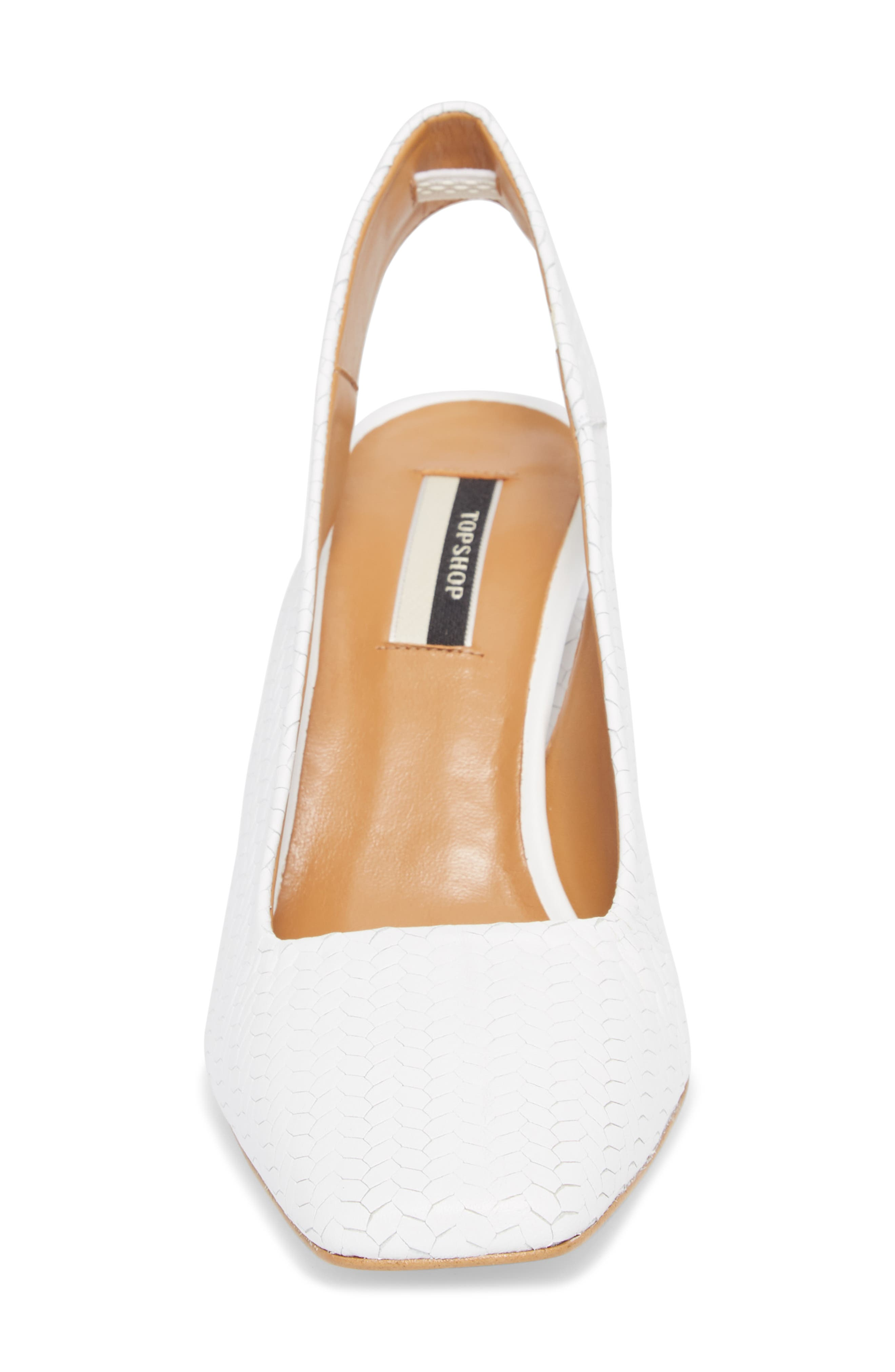 Gainor Block Heel Slingback Pump,                             Alternate thumbnail 4, color,                             White