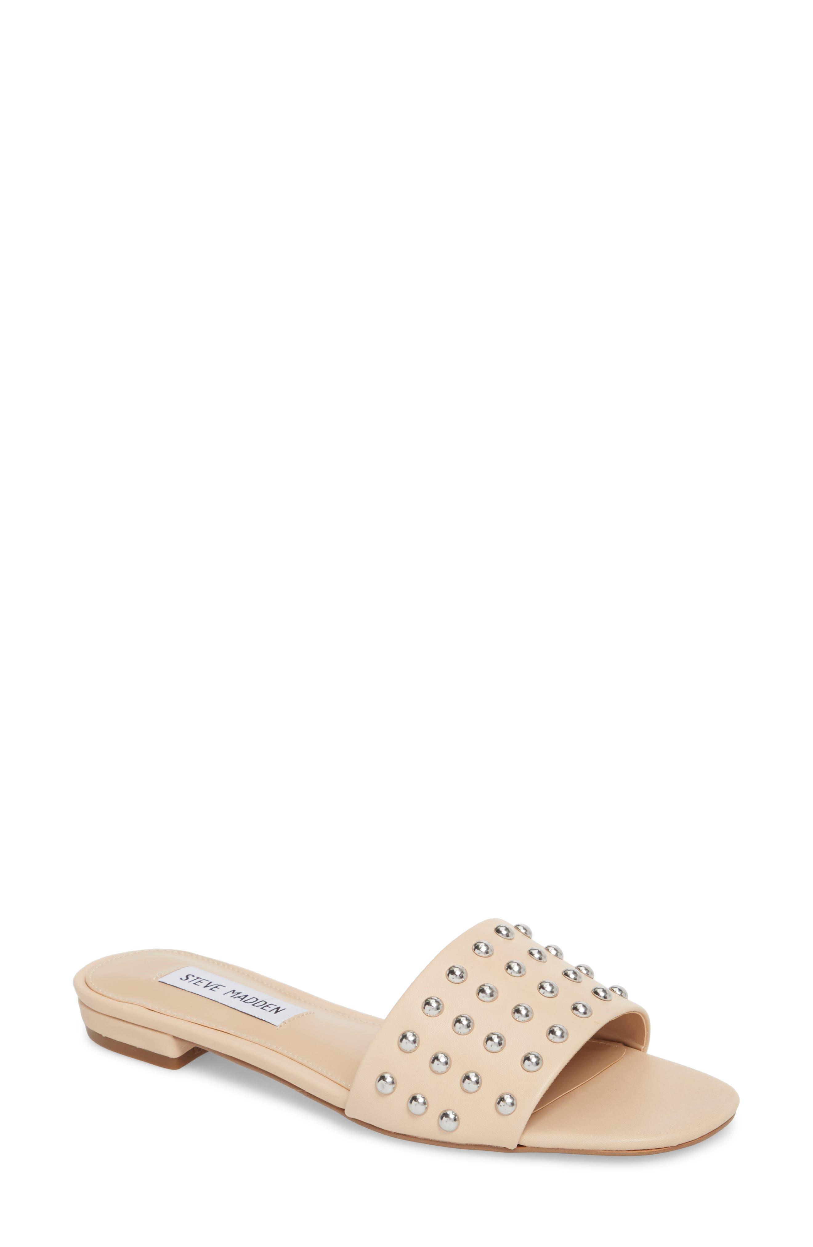 Viv Studded Slide Sandal,                             Main thumbnail 1, color,                             Blush Leather