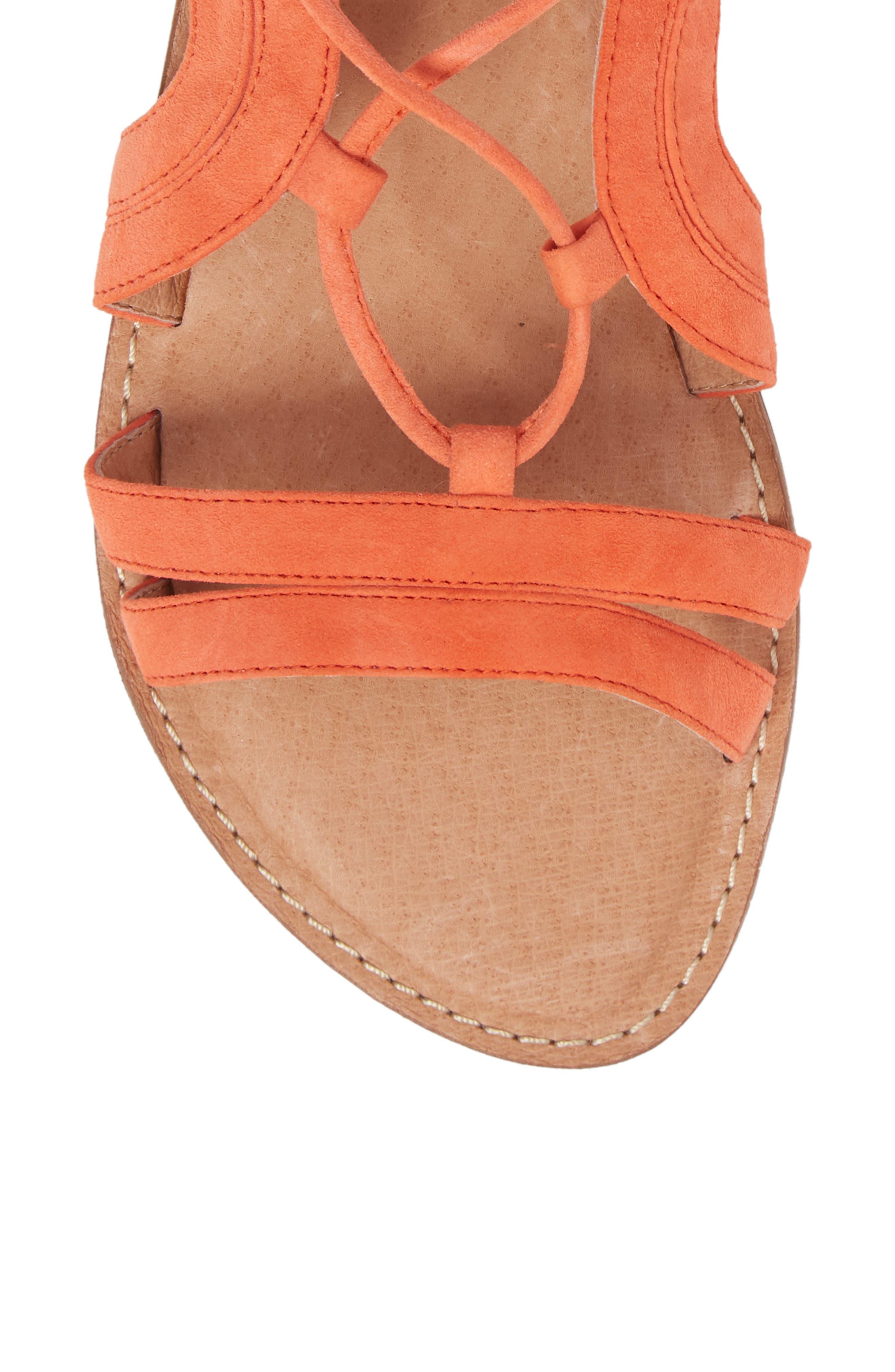 Lilian Gladiator Sandal,                             Alternate thumbnail 5, color,                             Orange Suede