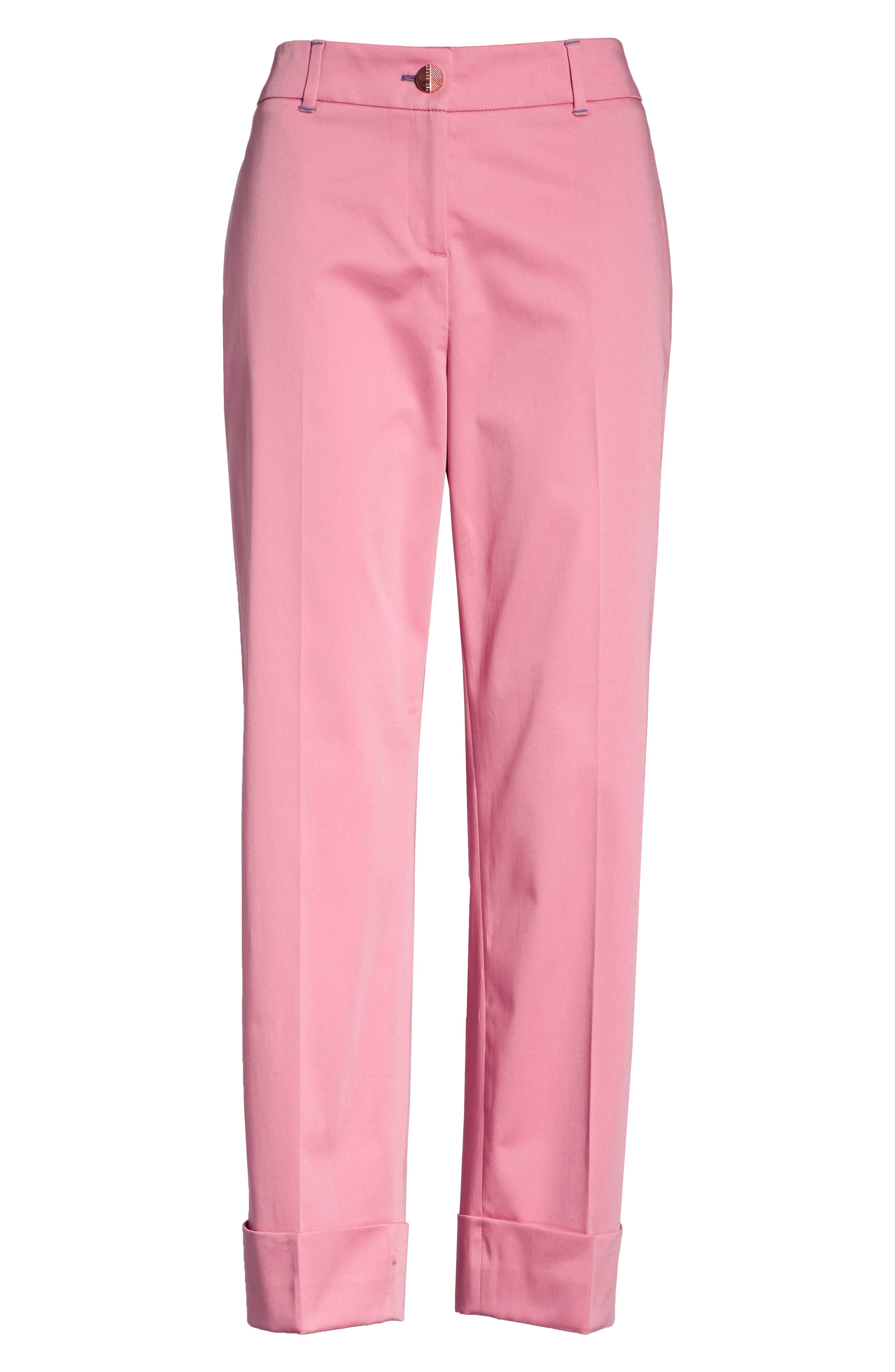 Saydii Deep Cuff Stretch Cotton Chino Pants,                             Alternate thumbnail 6, color,                             Dusky Pink