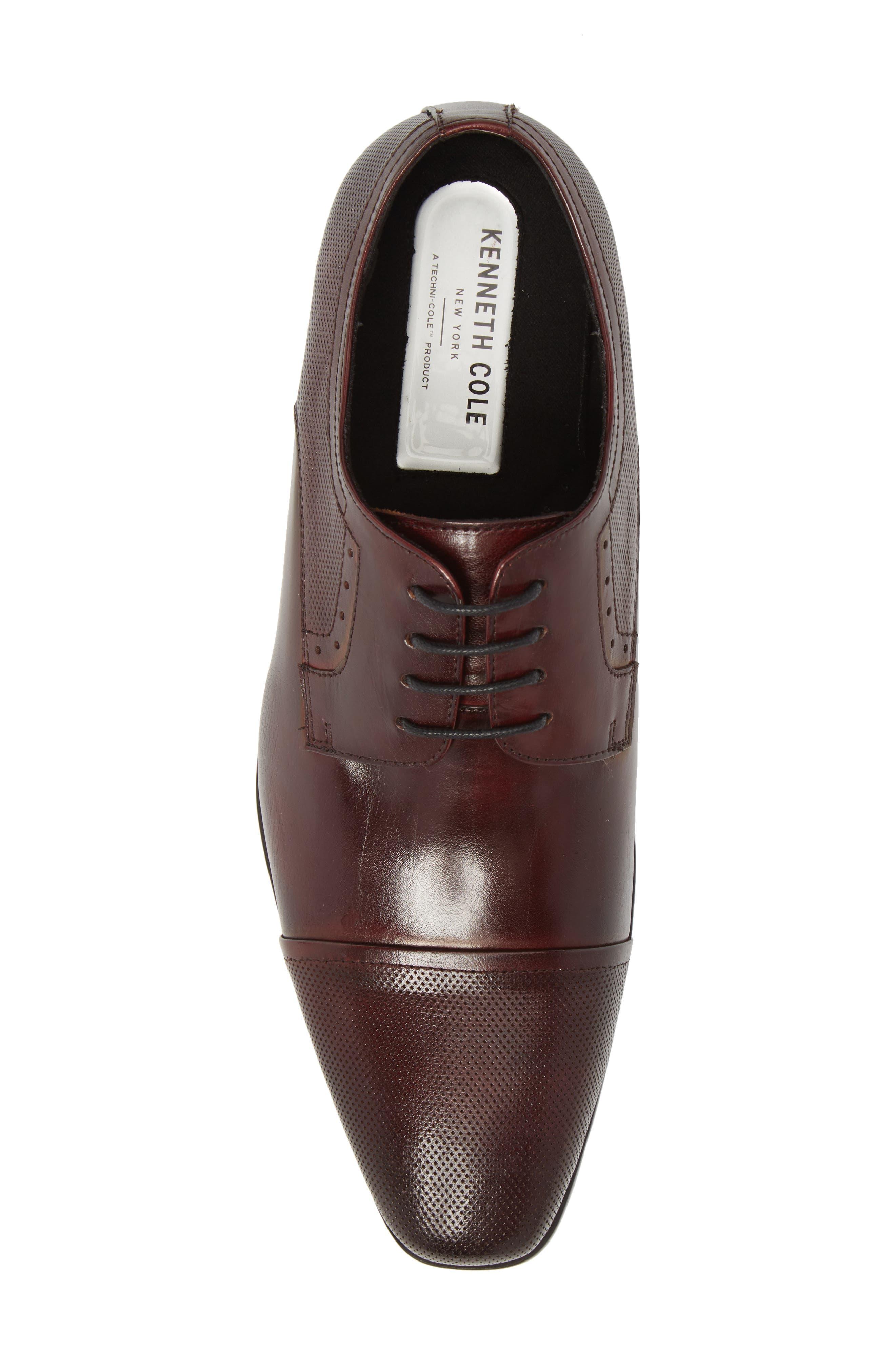 Embossed Cap Toe Derby,                             Alternate thumbnail 5, color,                             Bordeaux Leather