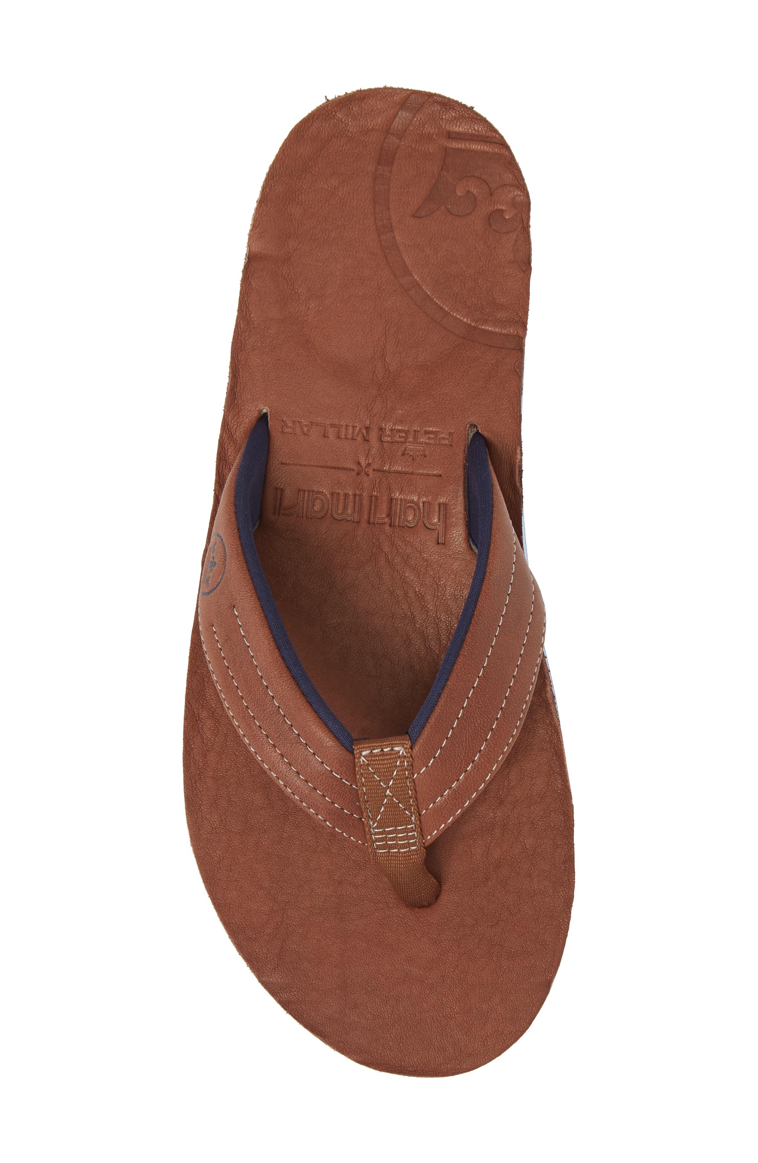 x Peter Millar Leather Flip Flop,                             Alternate thumbnail 5, color,                             Dark Chocolate Leather