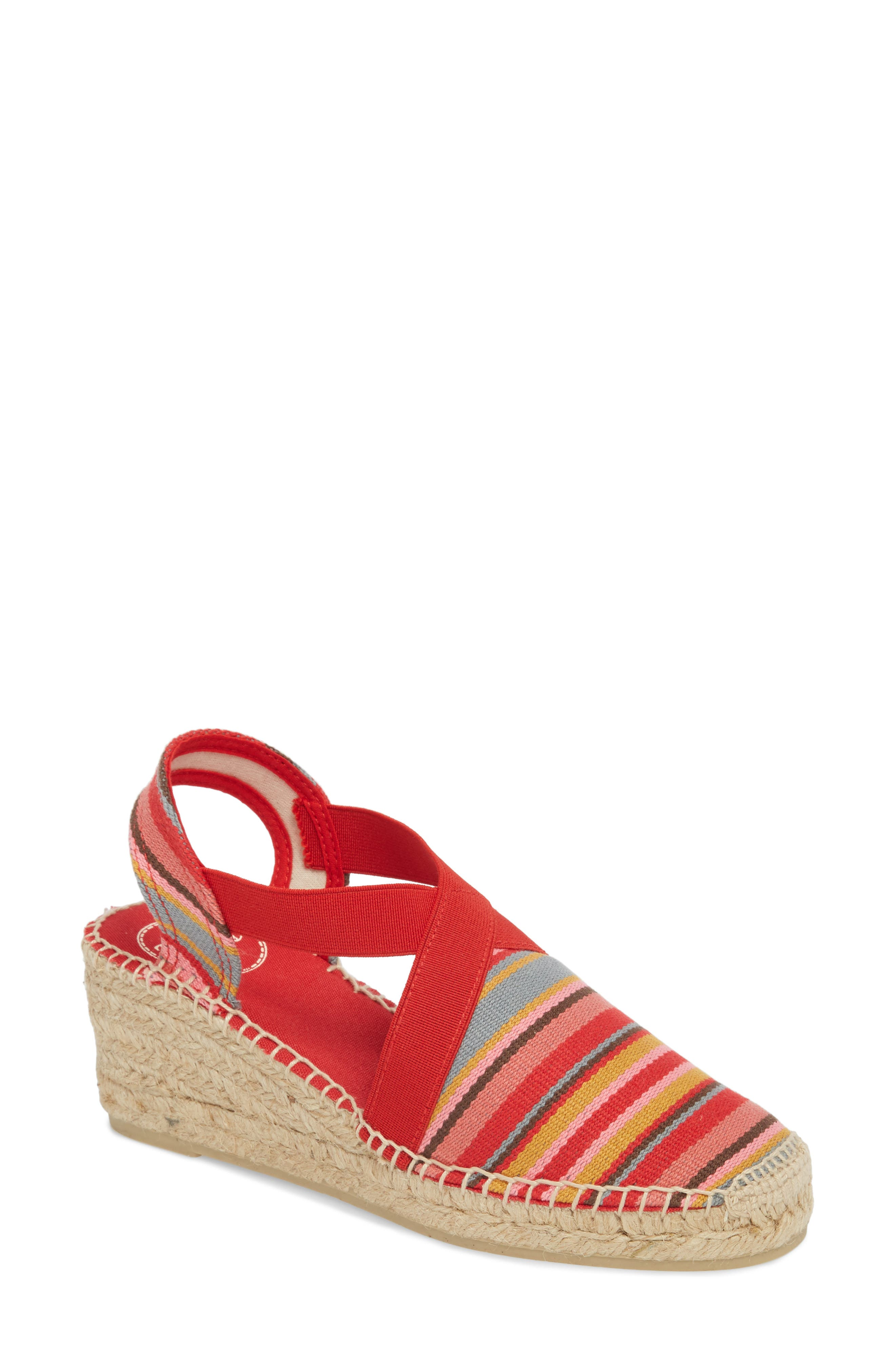 'Tarbes' Espadrille Wedge Sandal,                             Main thumbnail 1, color,                             Red Fabric
