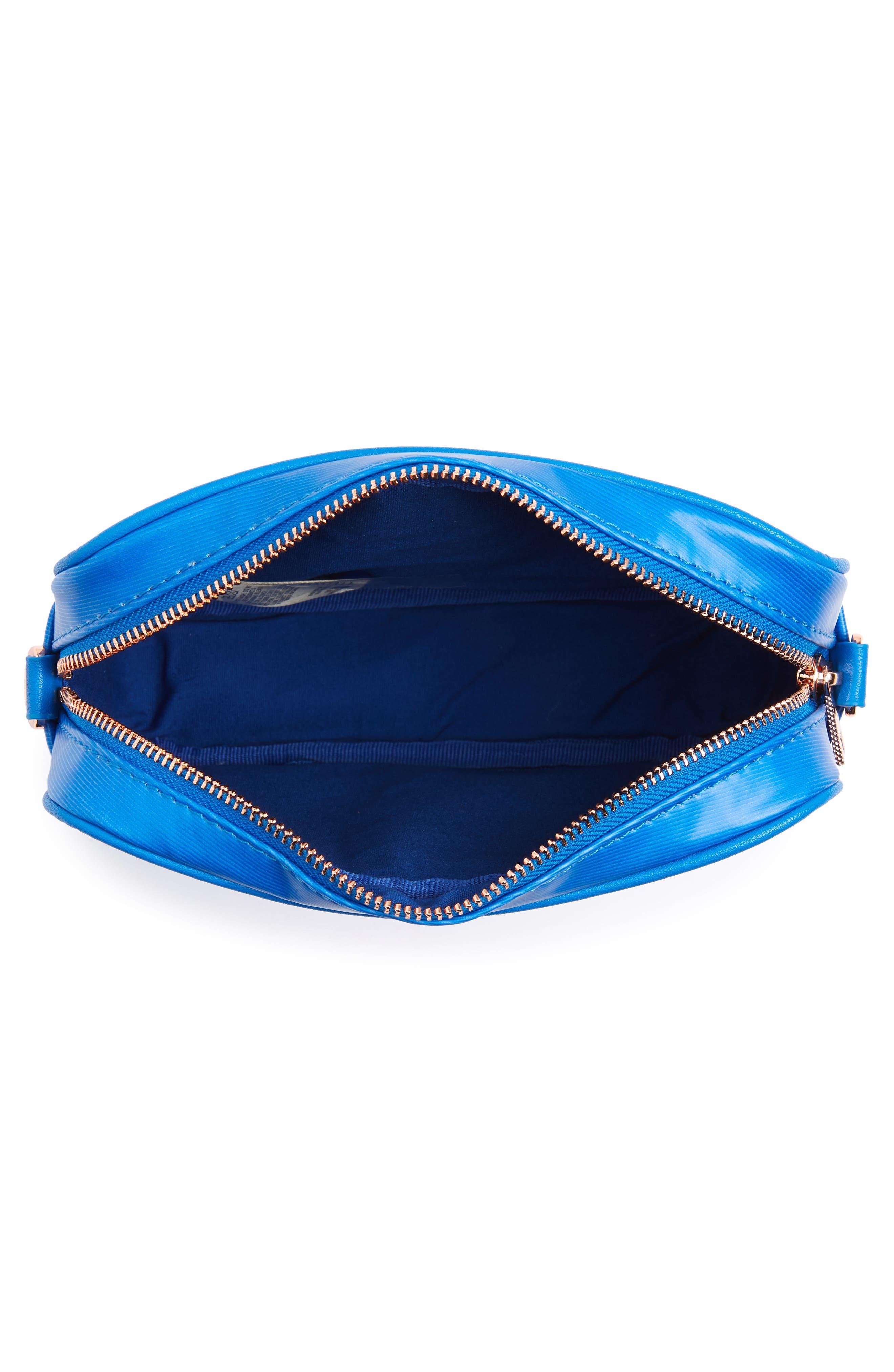 Harmony Print Canvas Camera Bag,                             Alternate thumbnail 4, color,                             Bright Blue