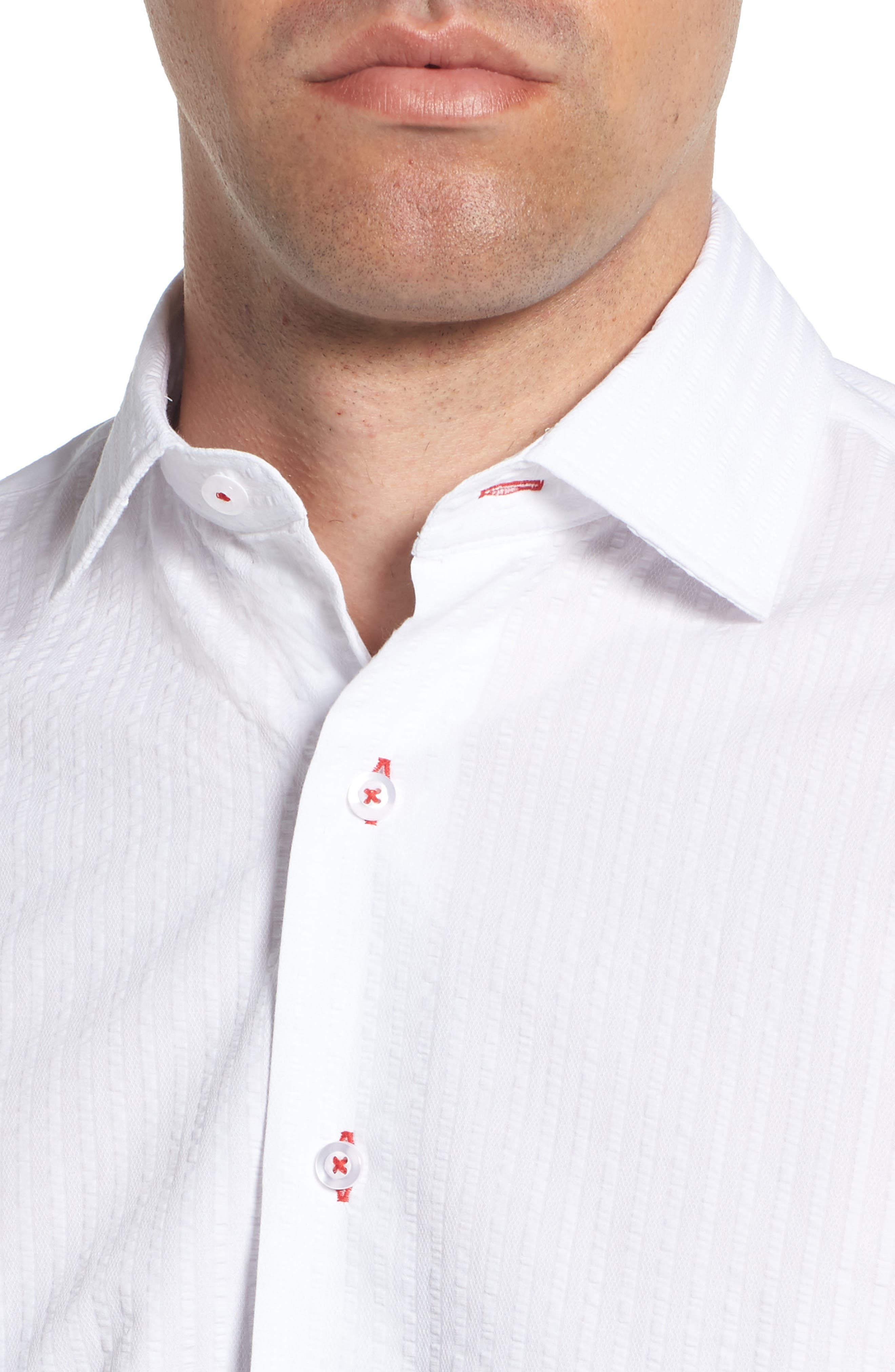 Trim Fit Seersucker Dress Shirt,                             Alternate thumbnail 2, color,                             White