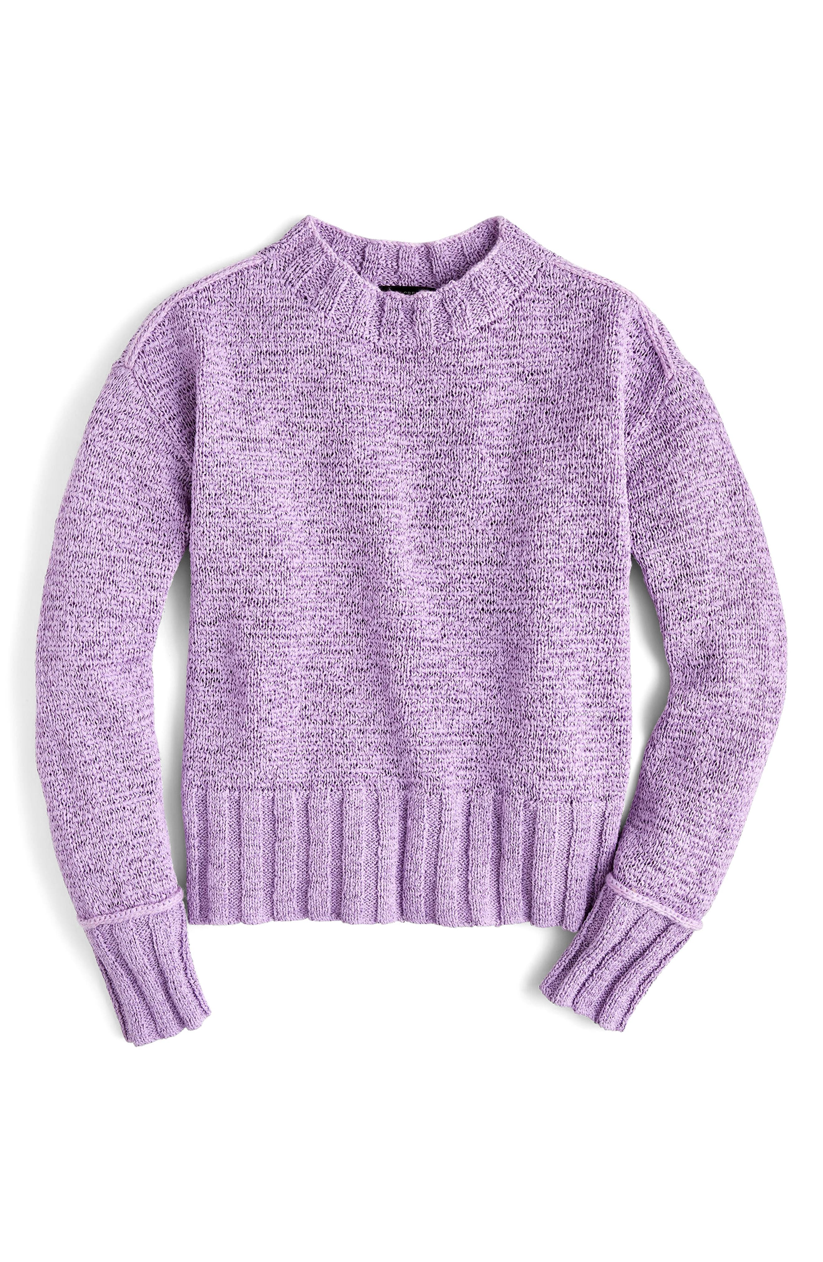 Erica Heathered Cotton Wide Rib Crewneck Sweater,                             Main thumbnail 1, color,                             Faded Lavender