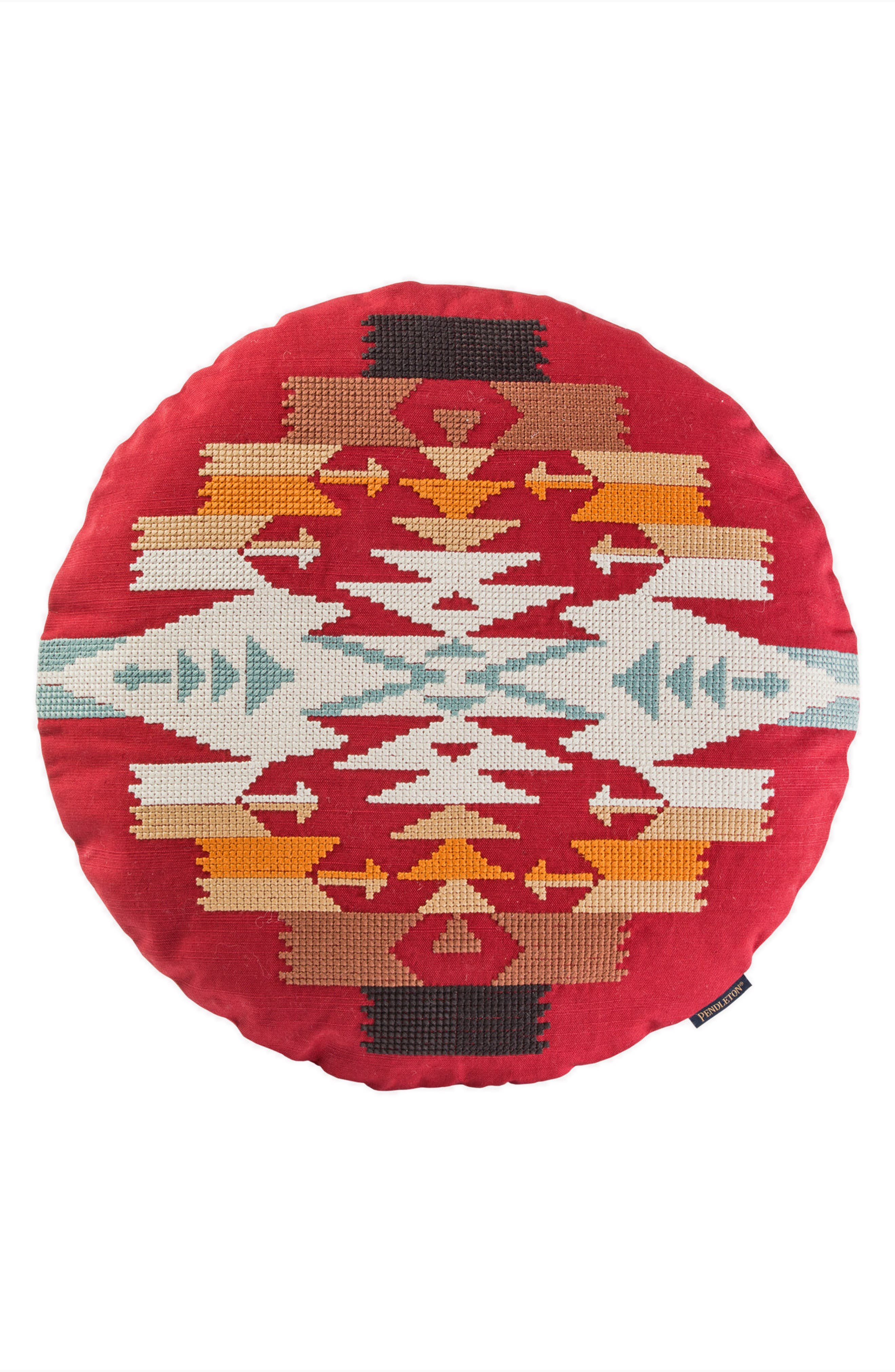 Tucson Saddle Exploded Cross Stitch Pillow,                             Main thumbnail 1, color,                             Scarlet