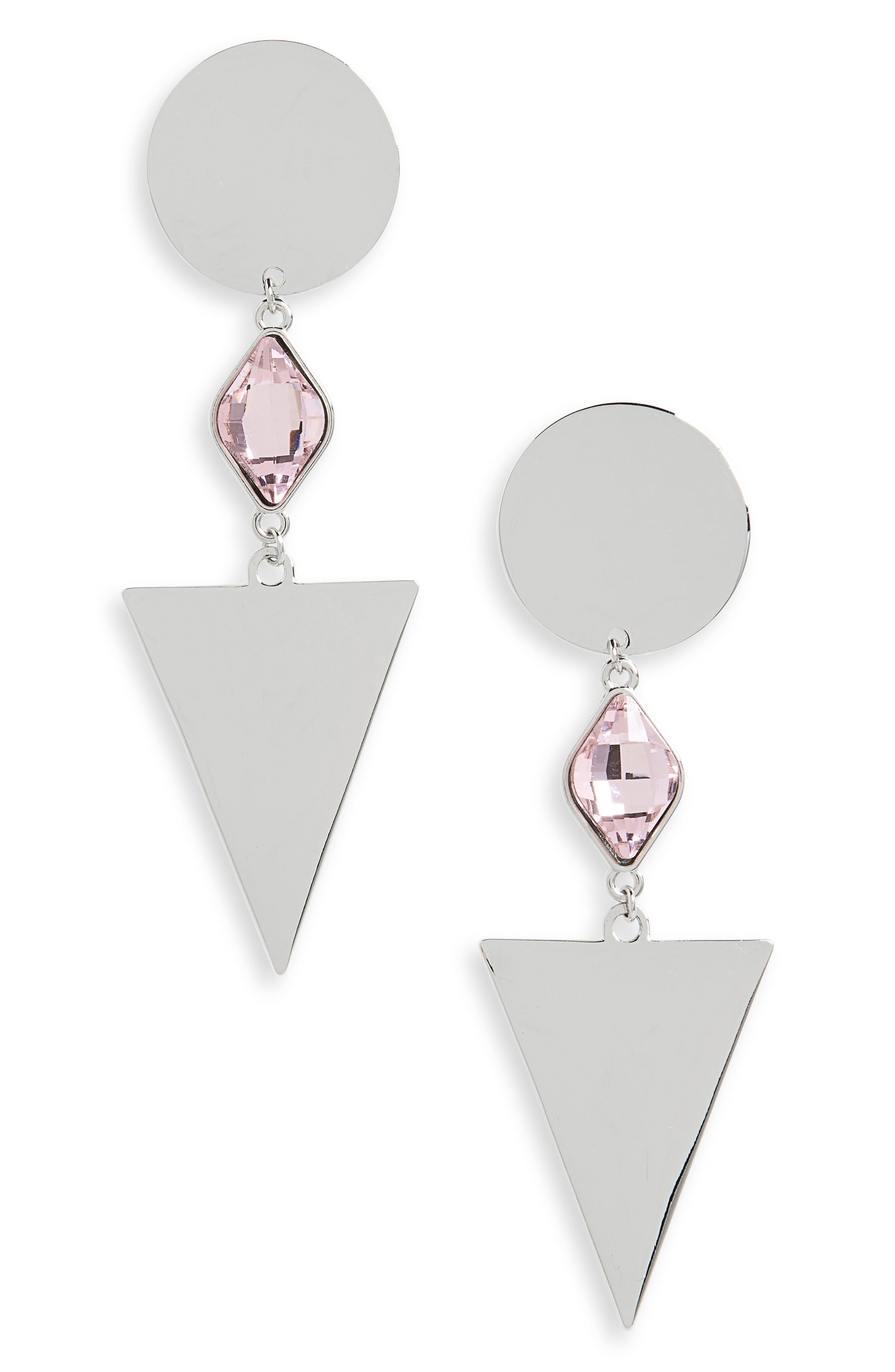 Geometric Crystal Drop Earrings,                         Main,                         color, Silver/ Pink