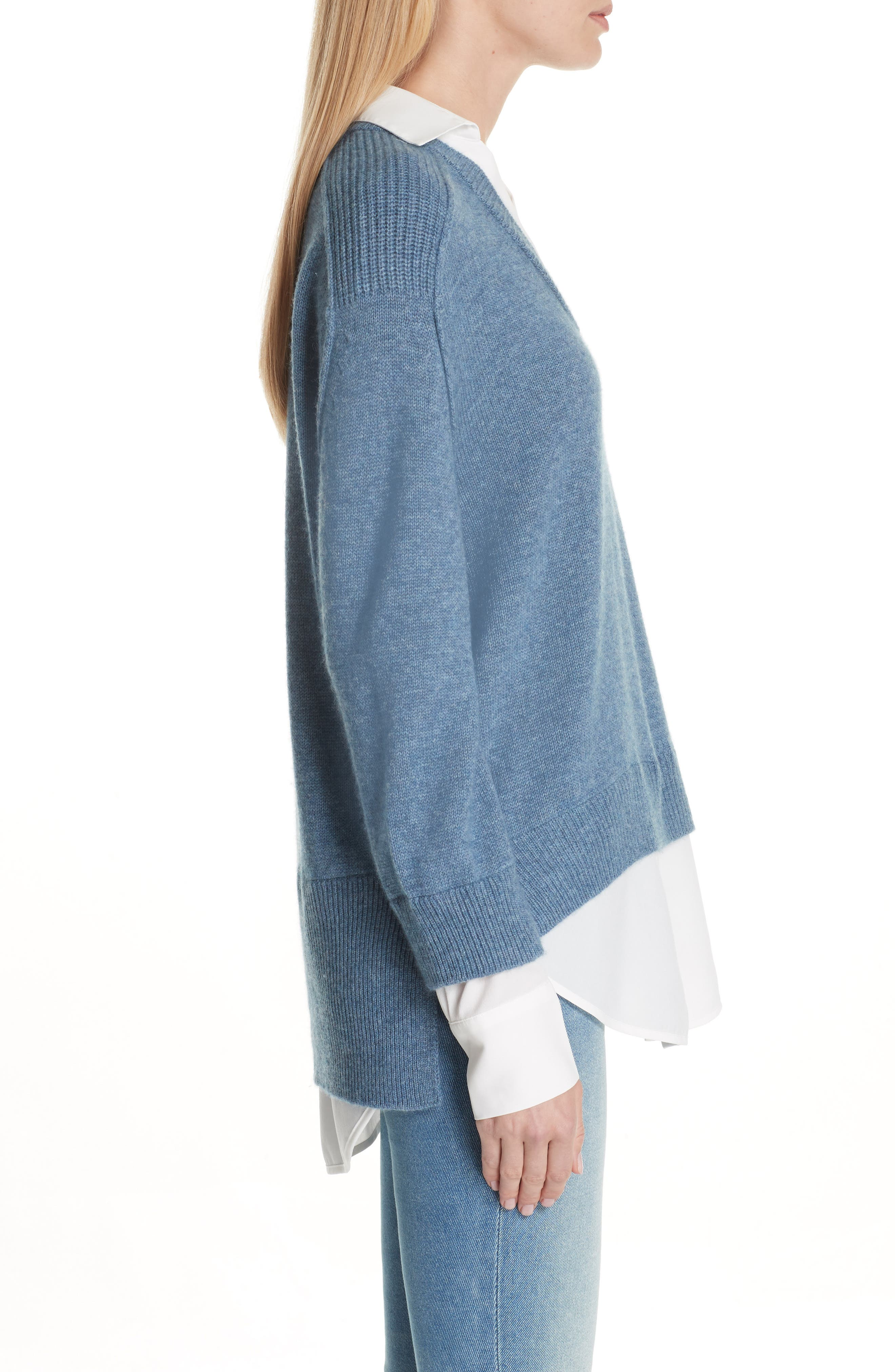 V-Neck Layered Pullover,                             Alternate thumbnail 3, color,                             Jean