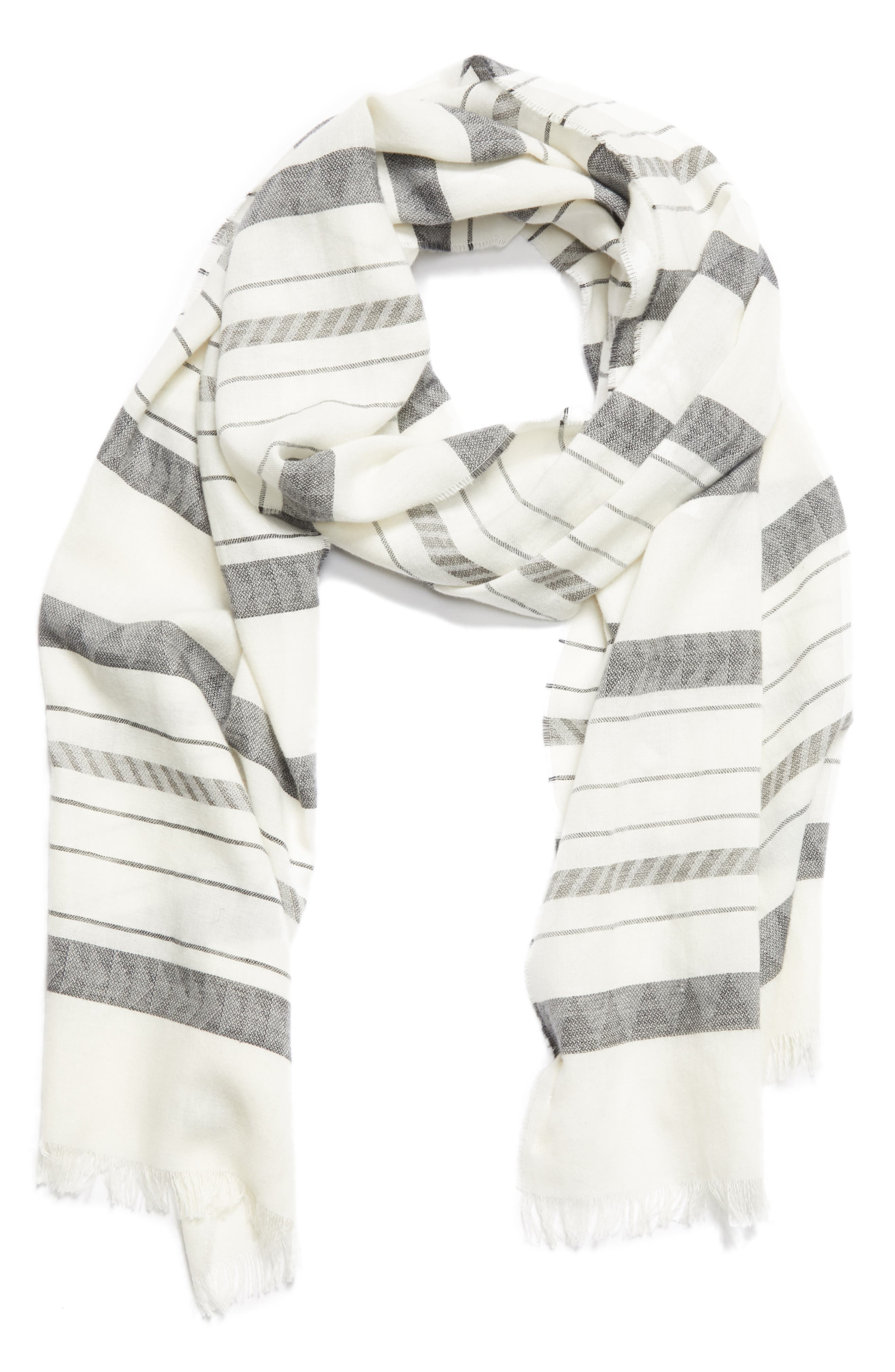 Stripe Organic Cotton & Linen Scarf,                             Alternate thumbnail 4, color,                             White