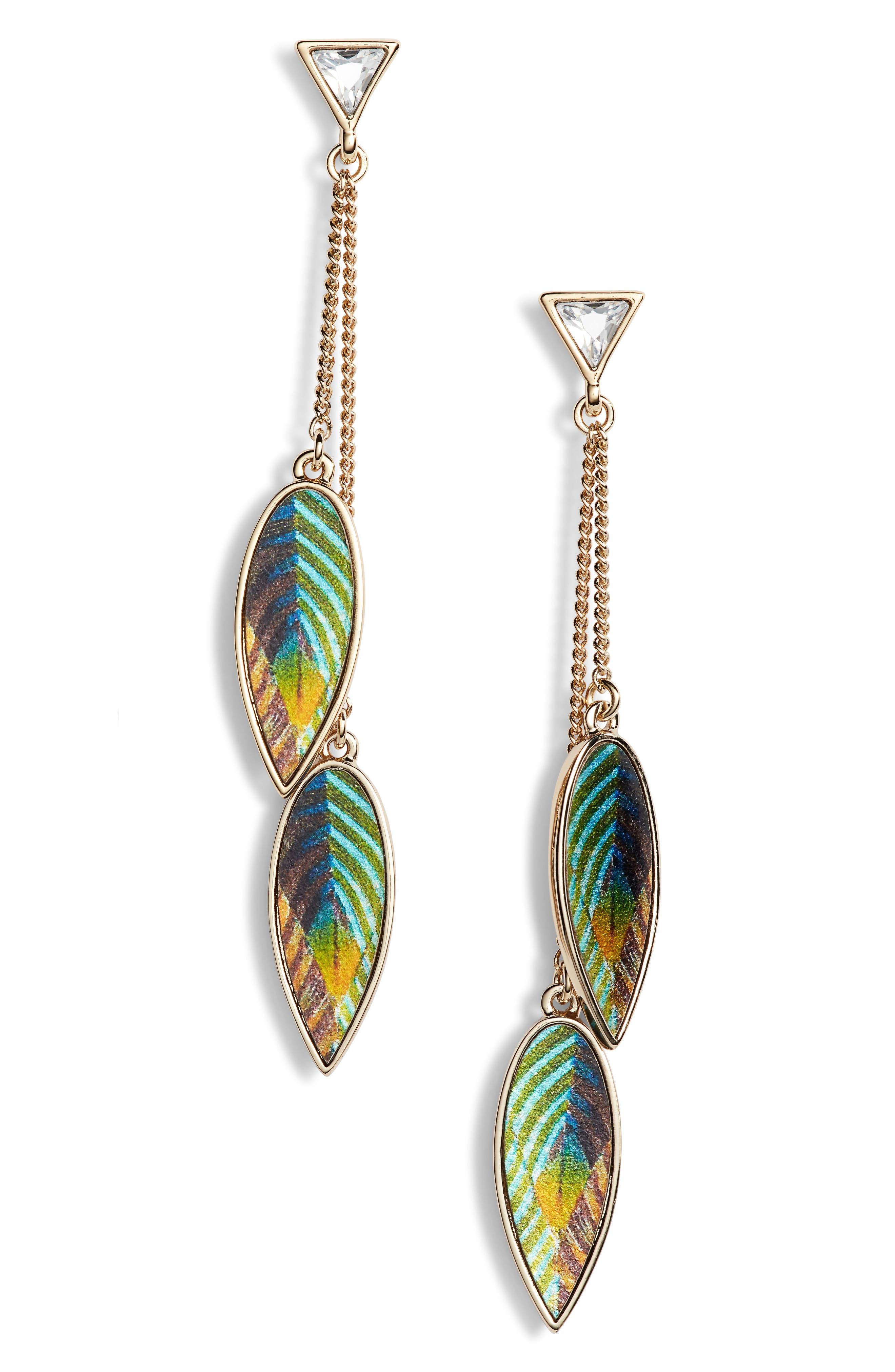 Metallic Leather Leaf Drop Earrings,                             Main thumbnail 1, color,                             Gold