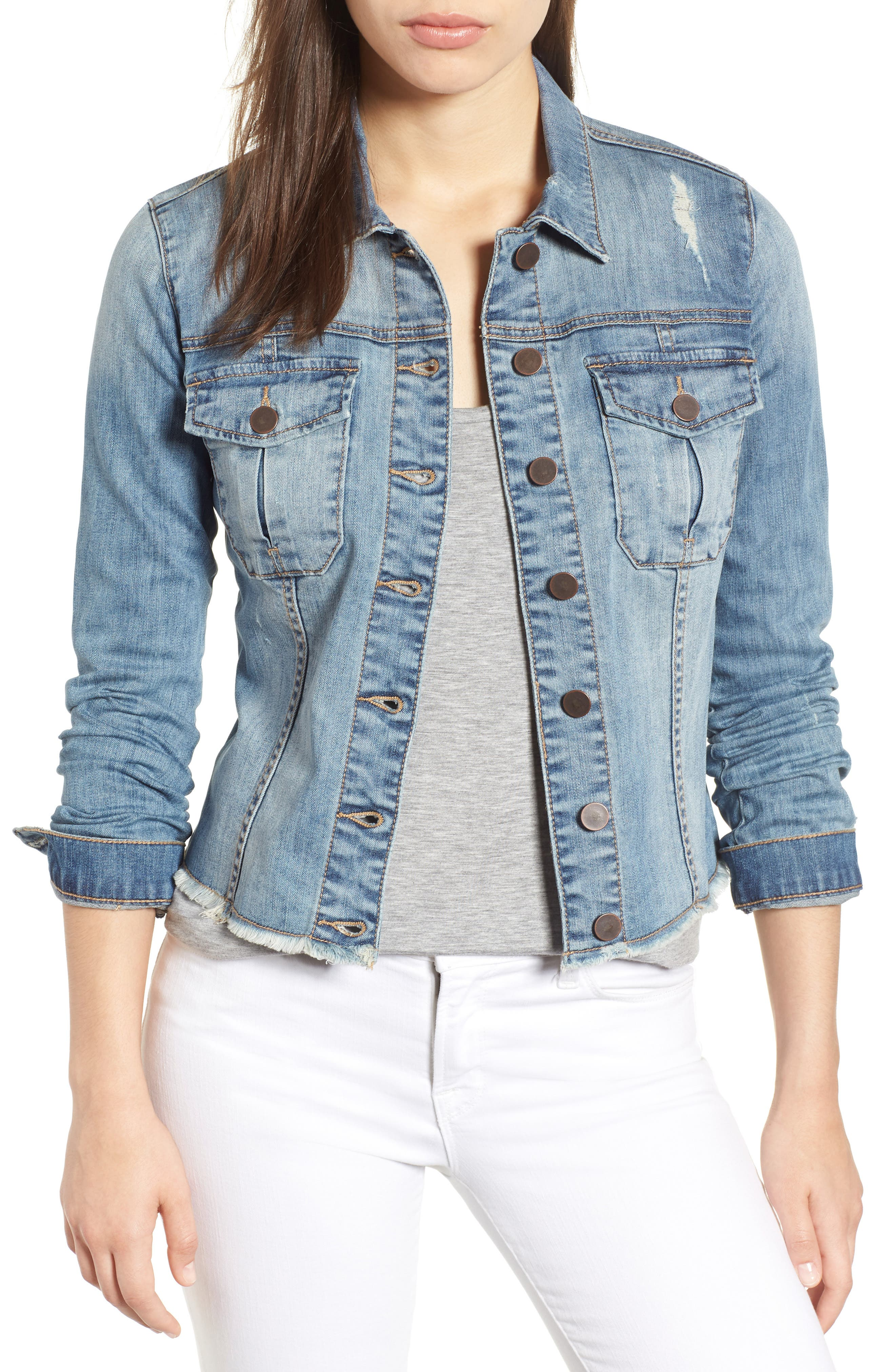 KUT from the Kloth Kara Denim Jacket,                             Main thumbnail 1, color,                             Confront