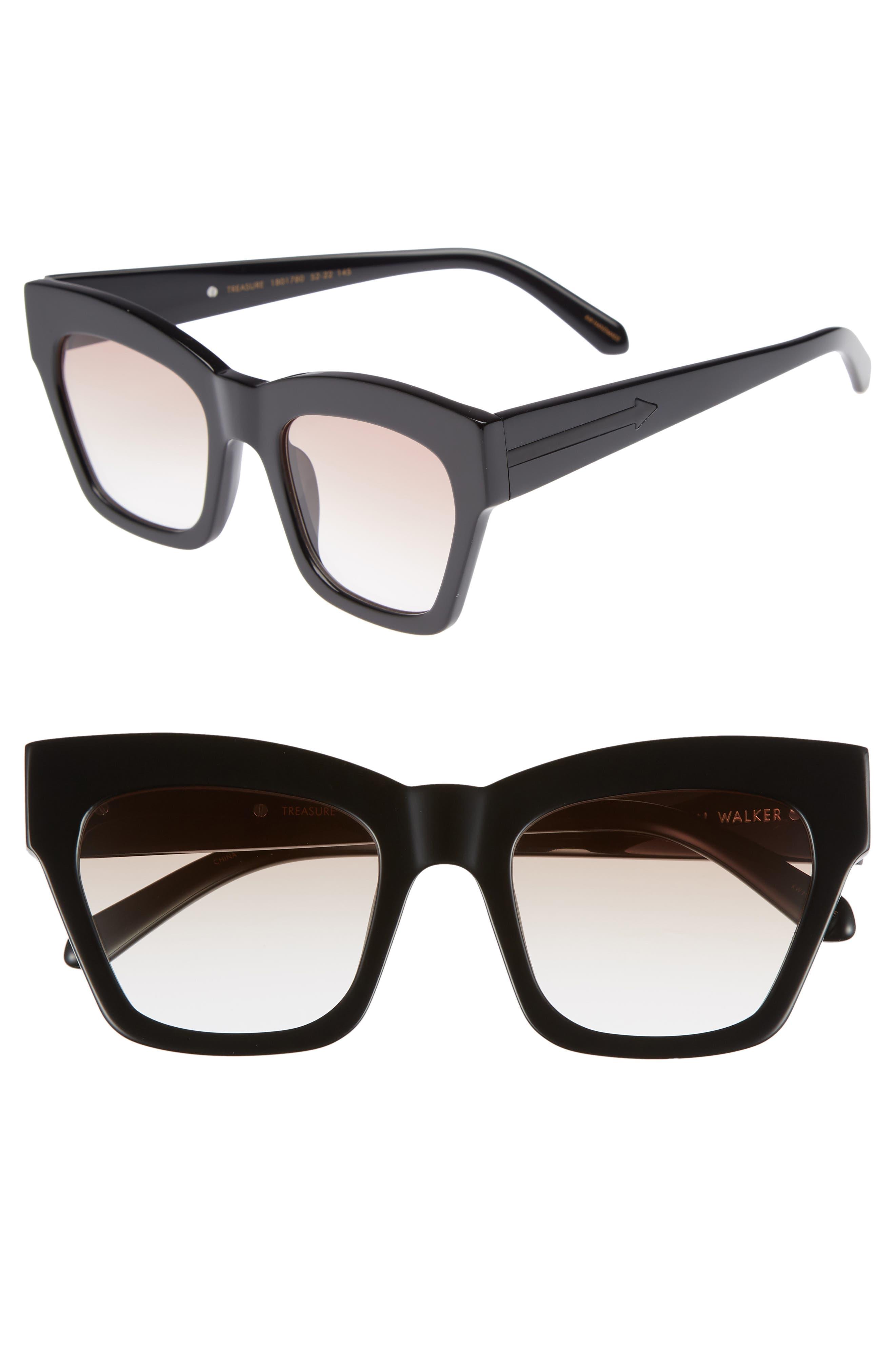 Treasure 52mm Cat Eye Sunglasses,                             Main thumbnail 1, color,                             Shiny Black/ Brown